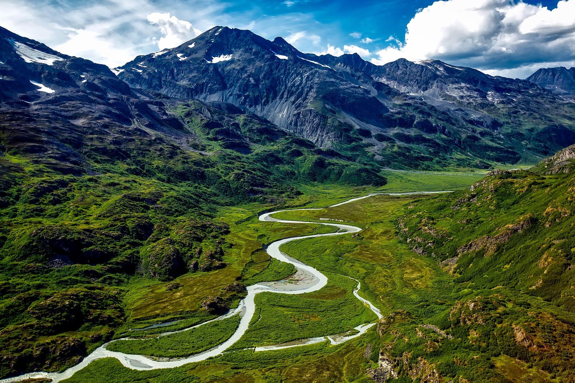 River between mountains in Alaska