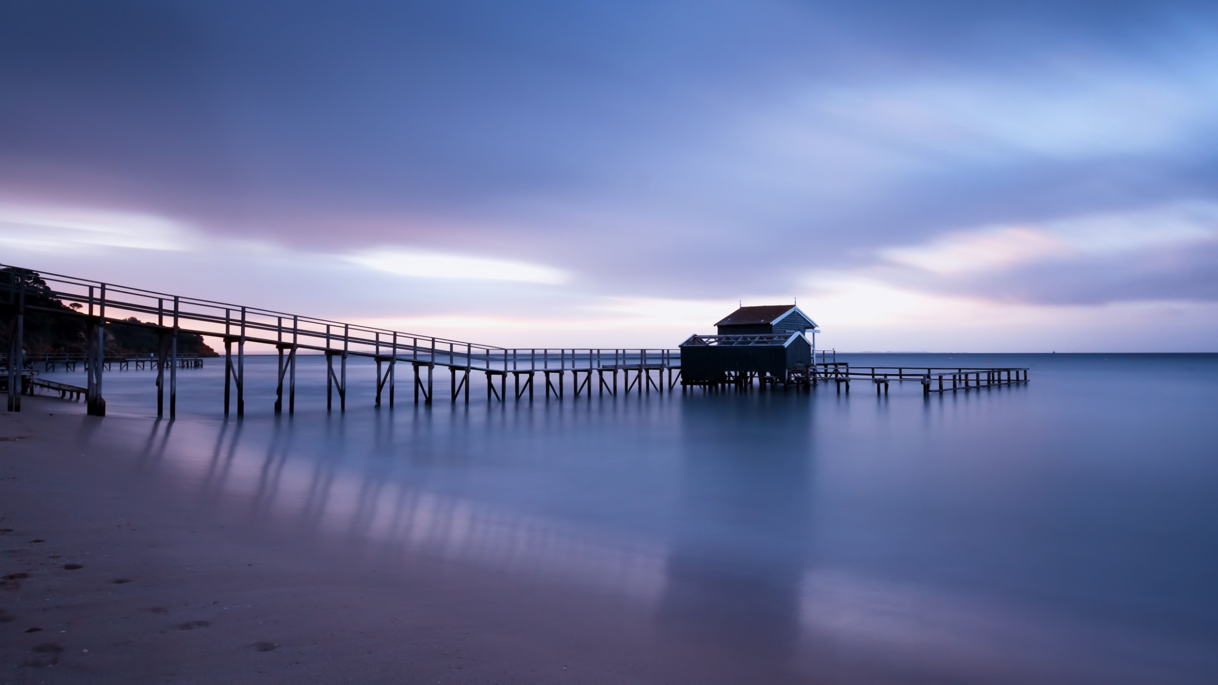 A jetty at sunset