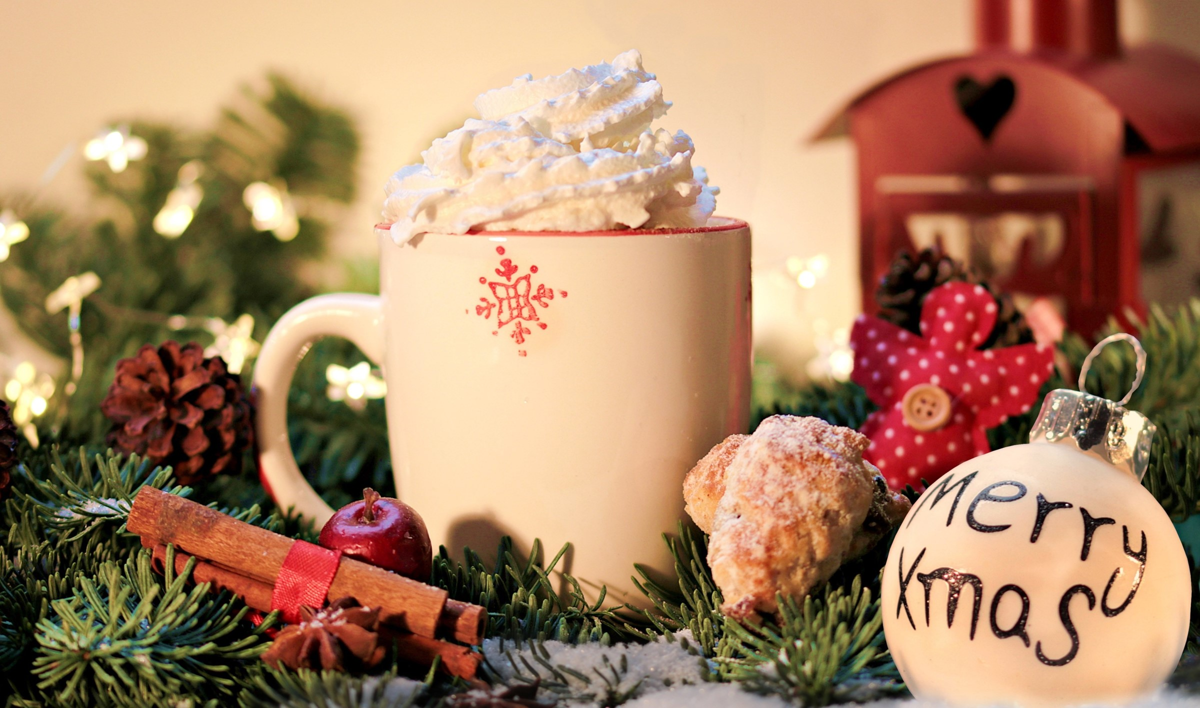 Christmas coffee and decorations