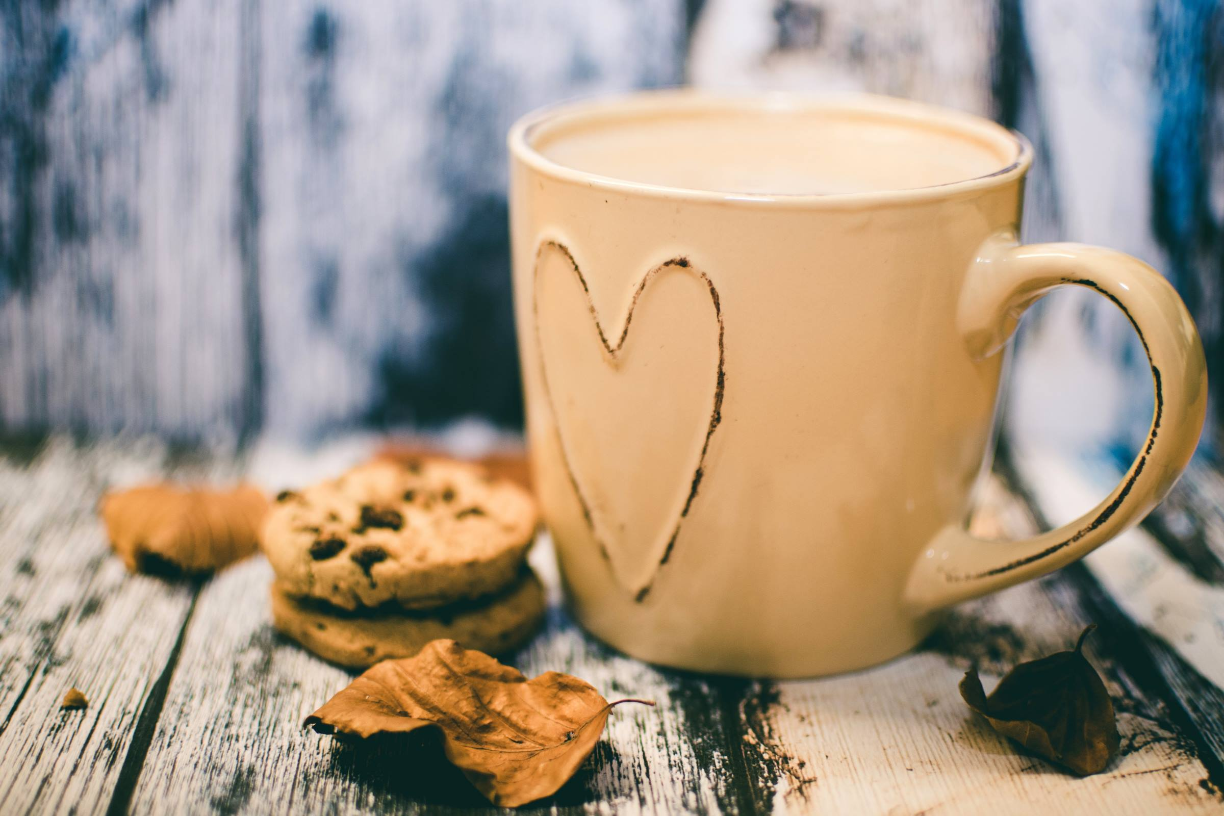 Coffee mug and cookies