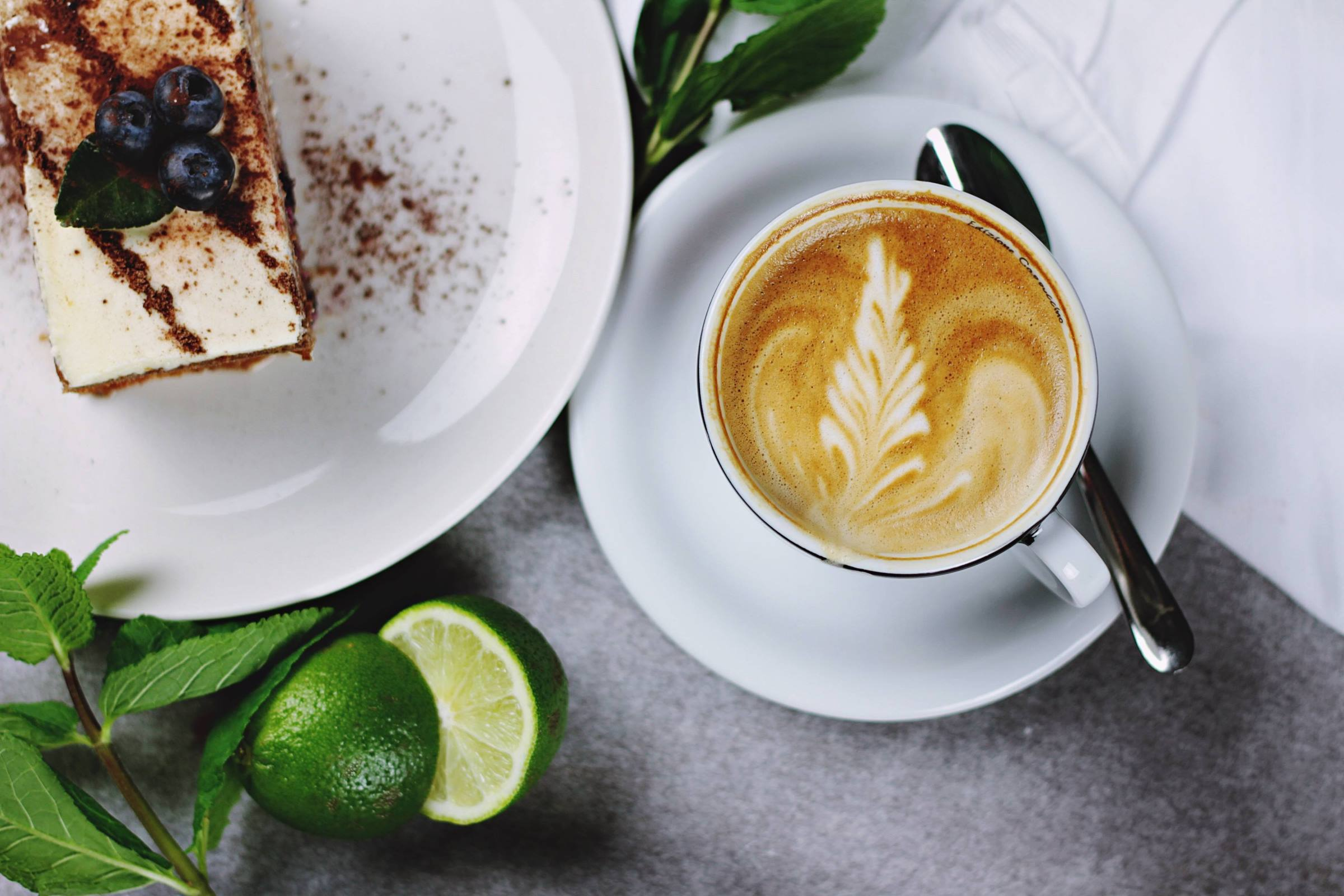 Cappuccino coffee and cake