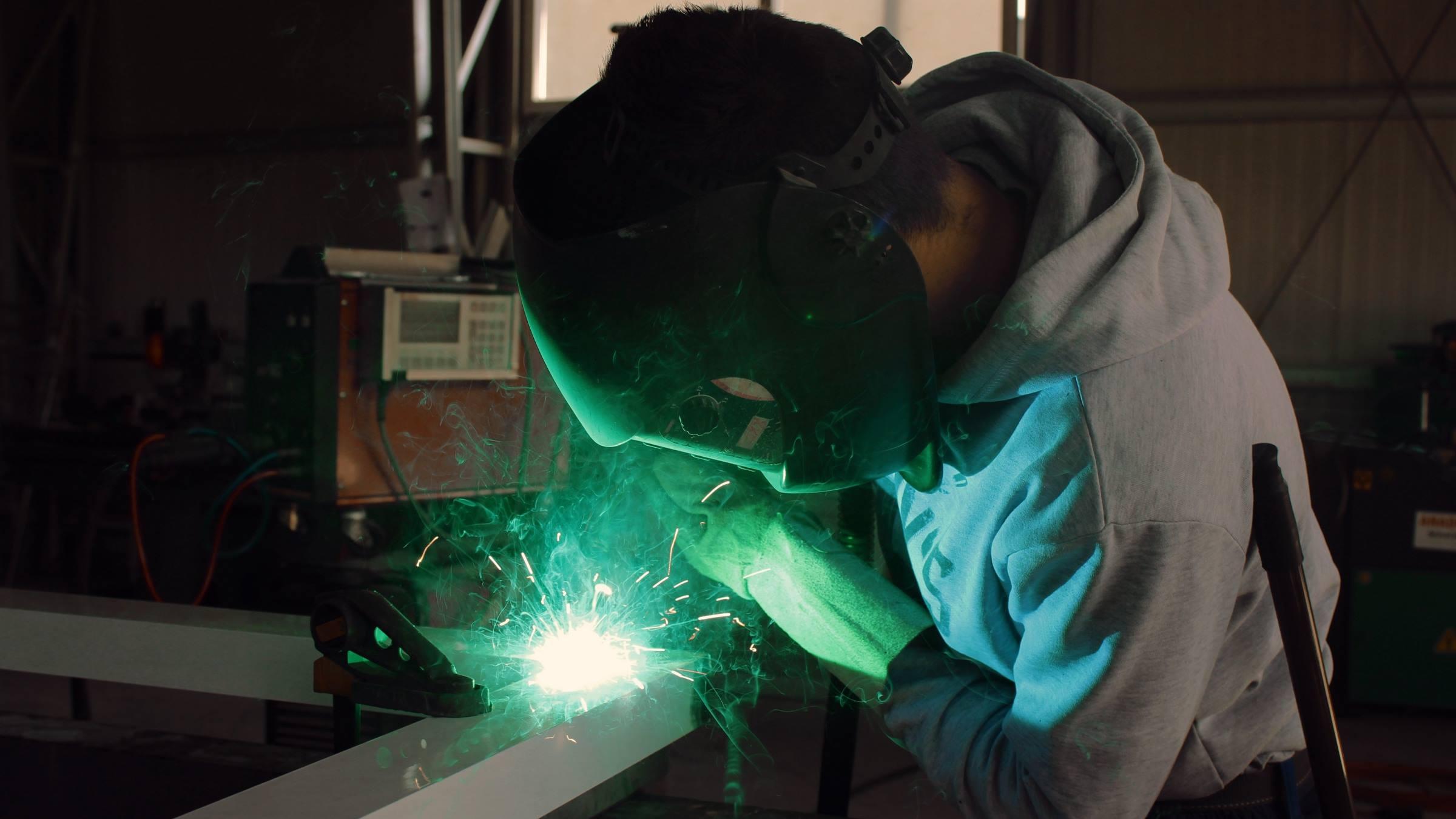 Worker welder factory