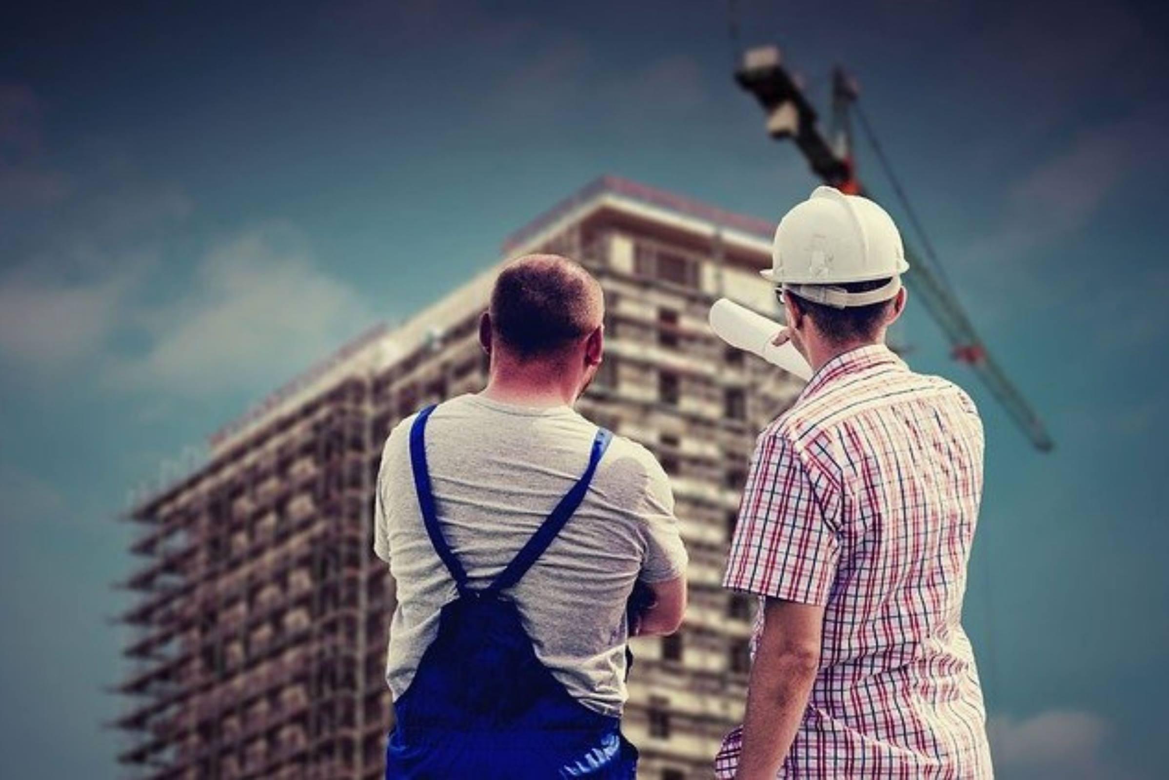 Workers architect builder crane