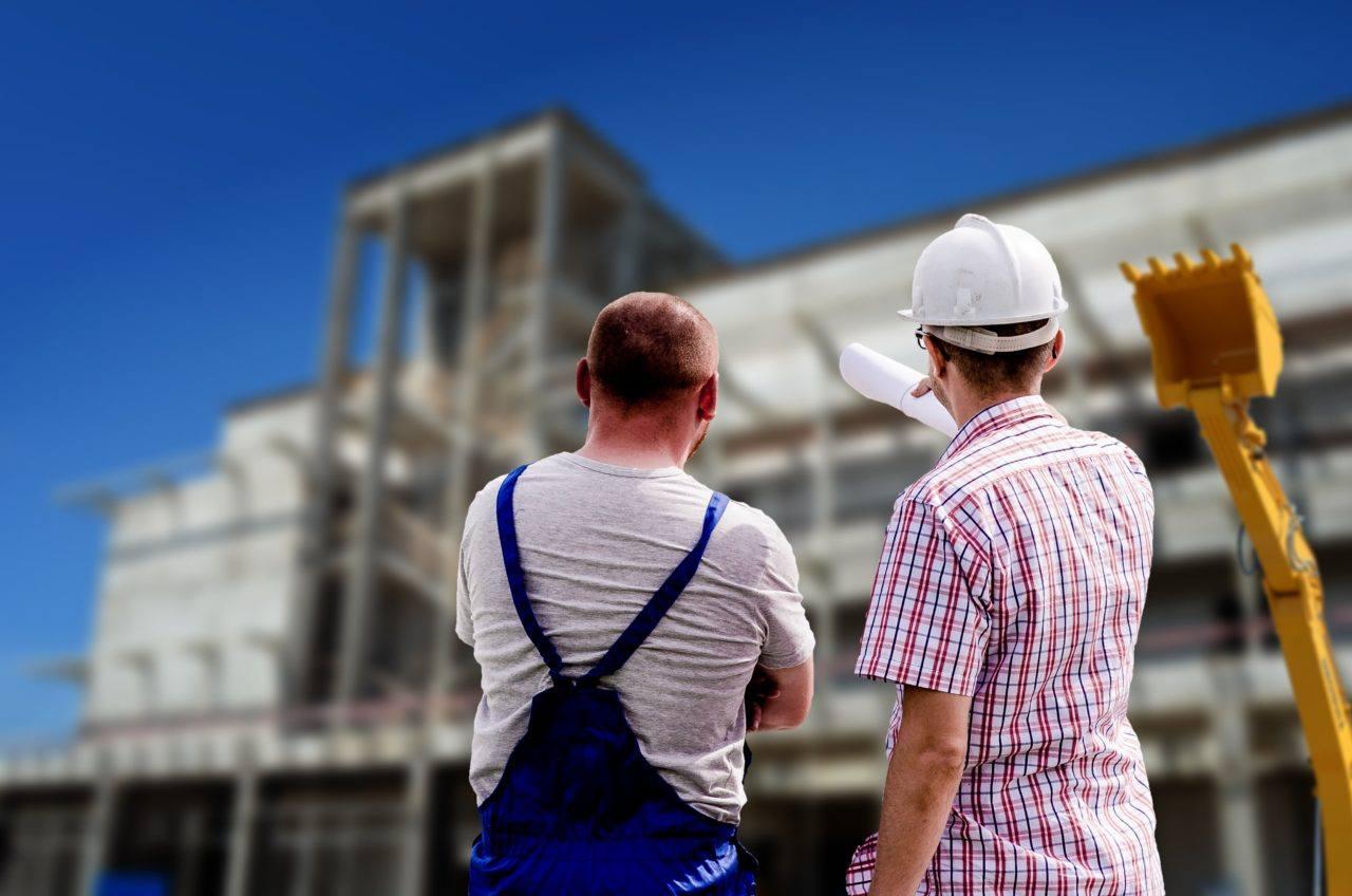 Workers architect plan blueprint builder factory
