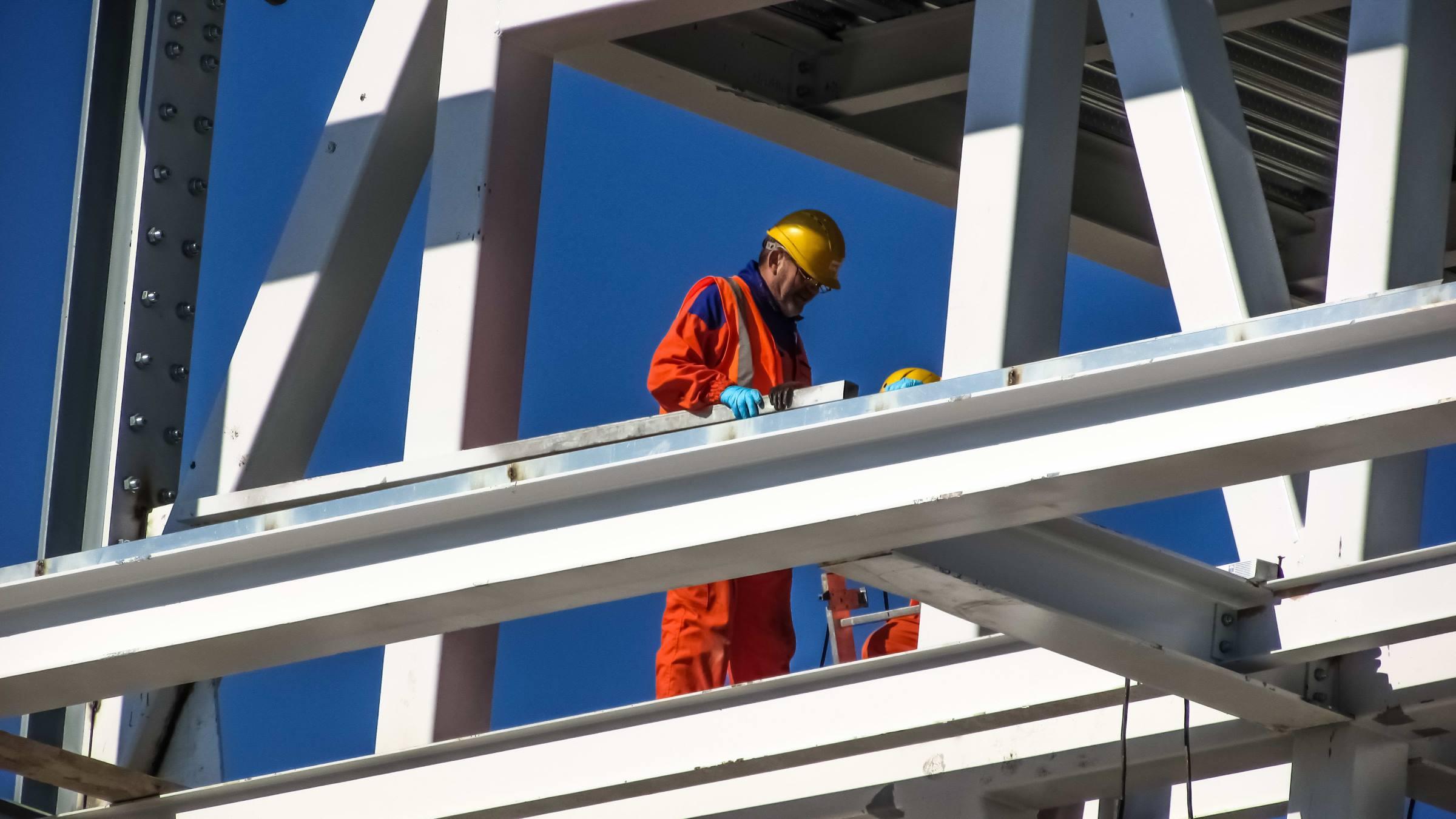construction worker steelwork building site