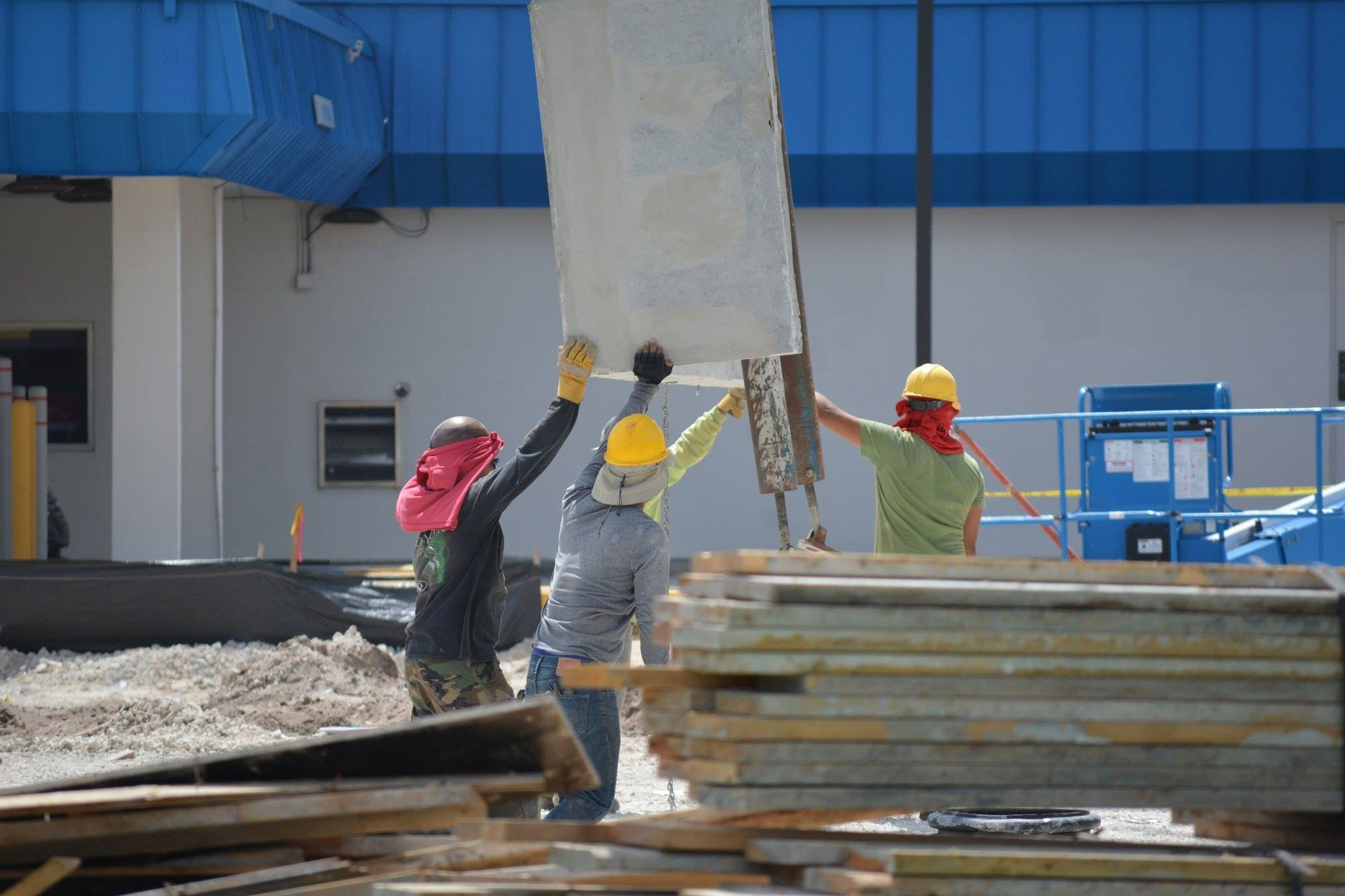 Workers builders construction industrial