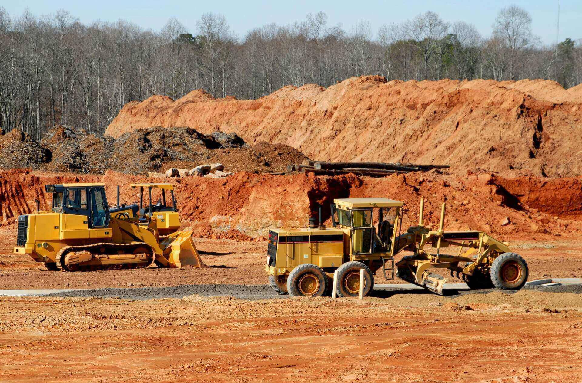 Construction site with dirt movers