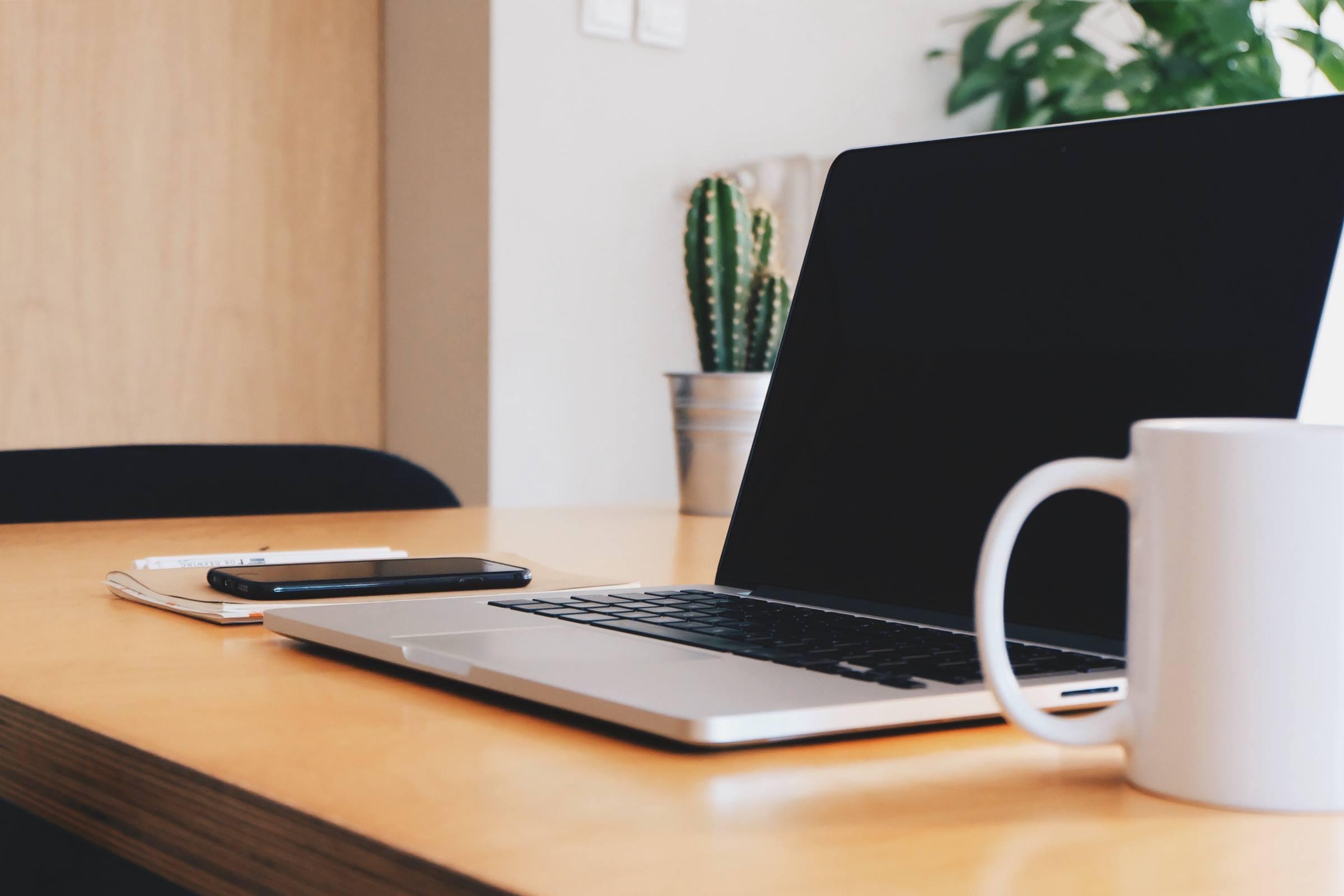 laptop mobile coffee mug plant office