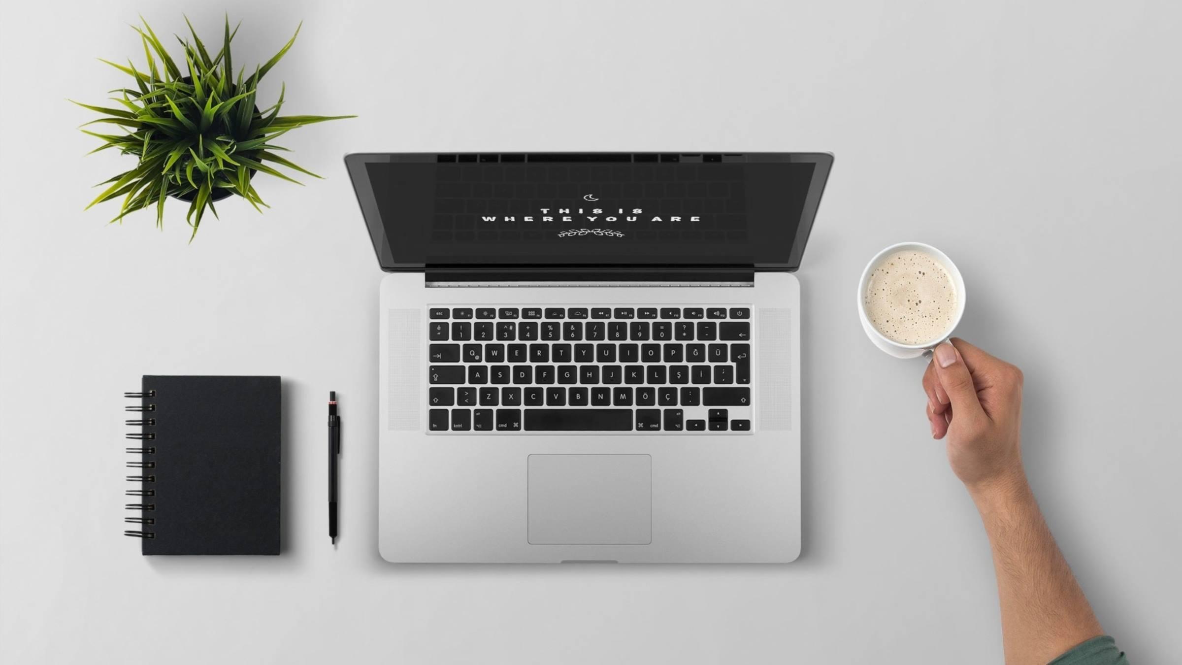 laptop plant notepad coffee arm