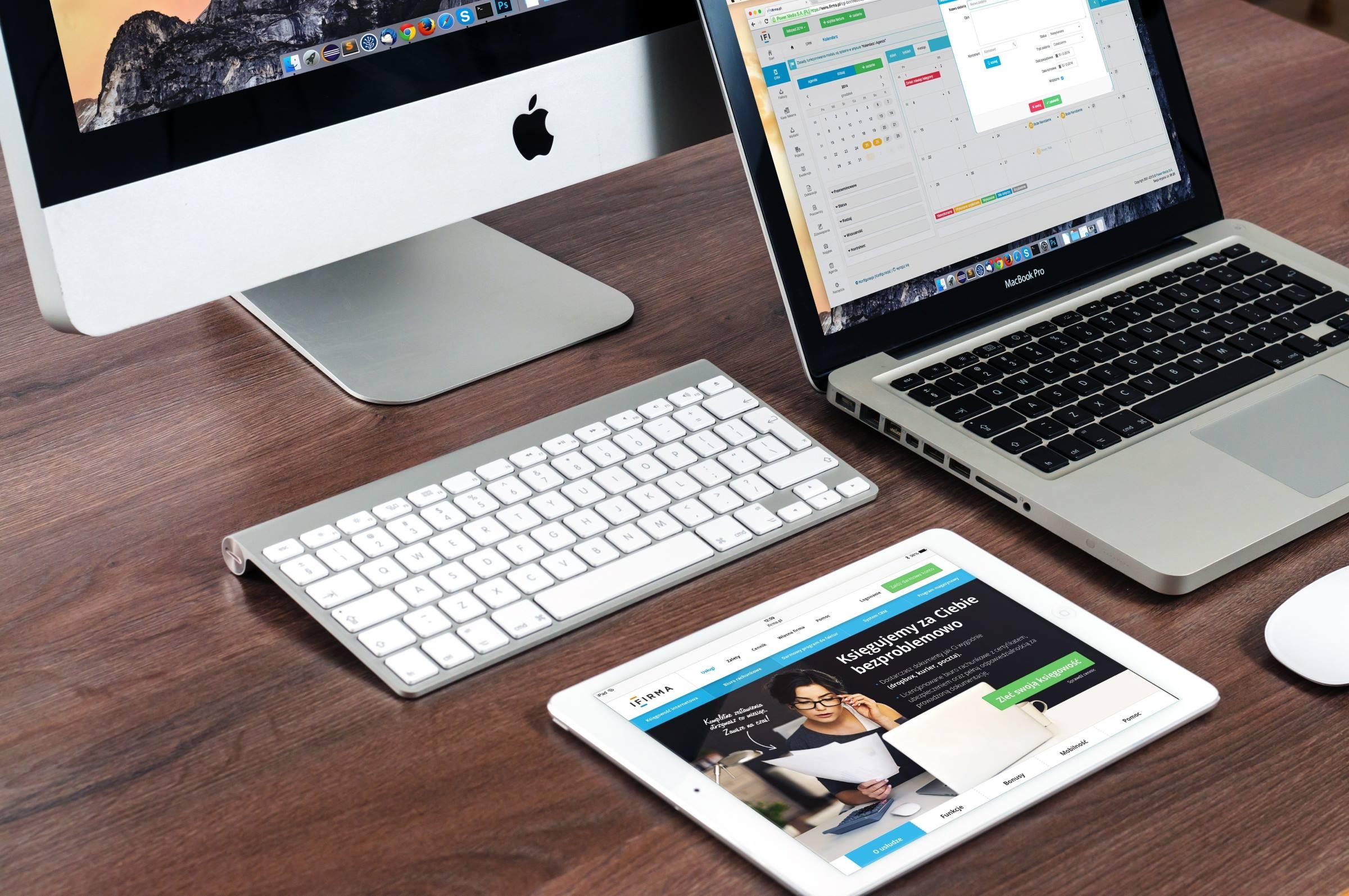 laptop tablet keyboard mouse desk