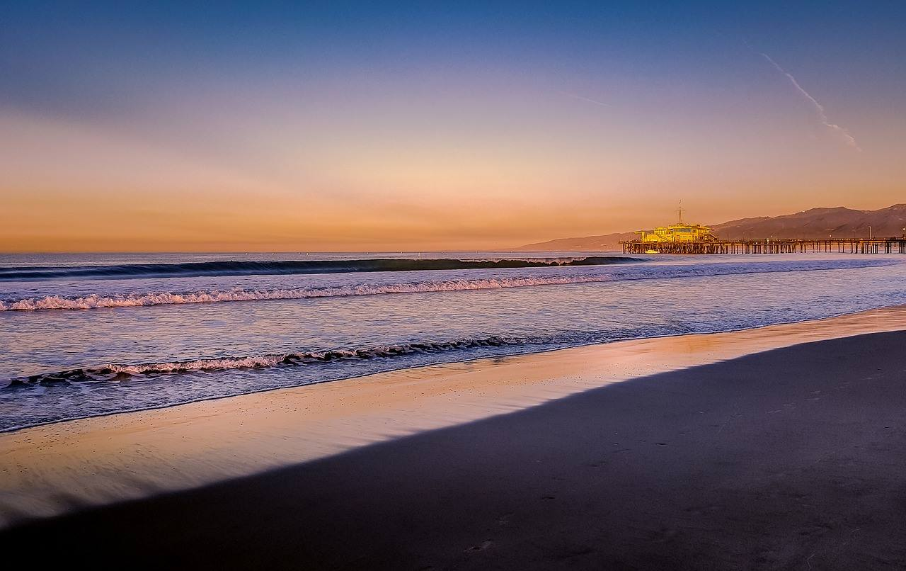 los angeles california beach sunset jetty