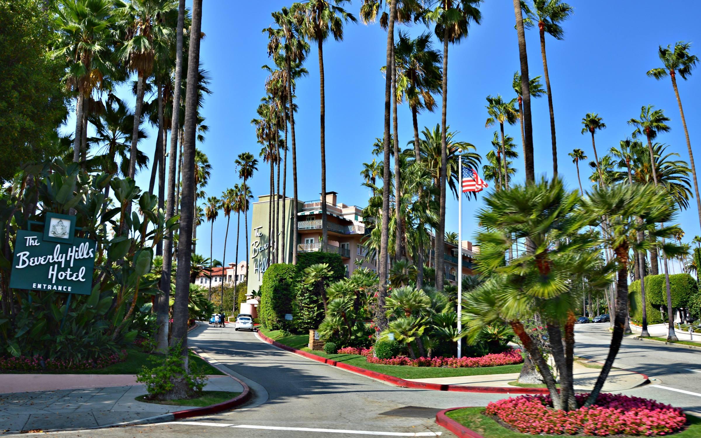 los angeles california beverley hills hotel palm trees