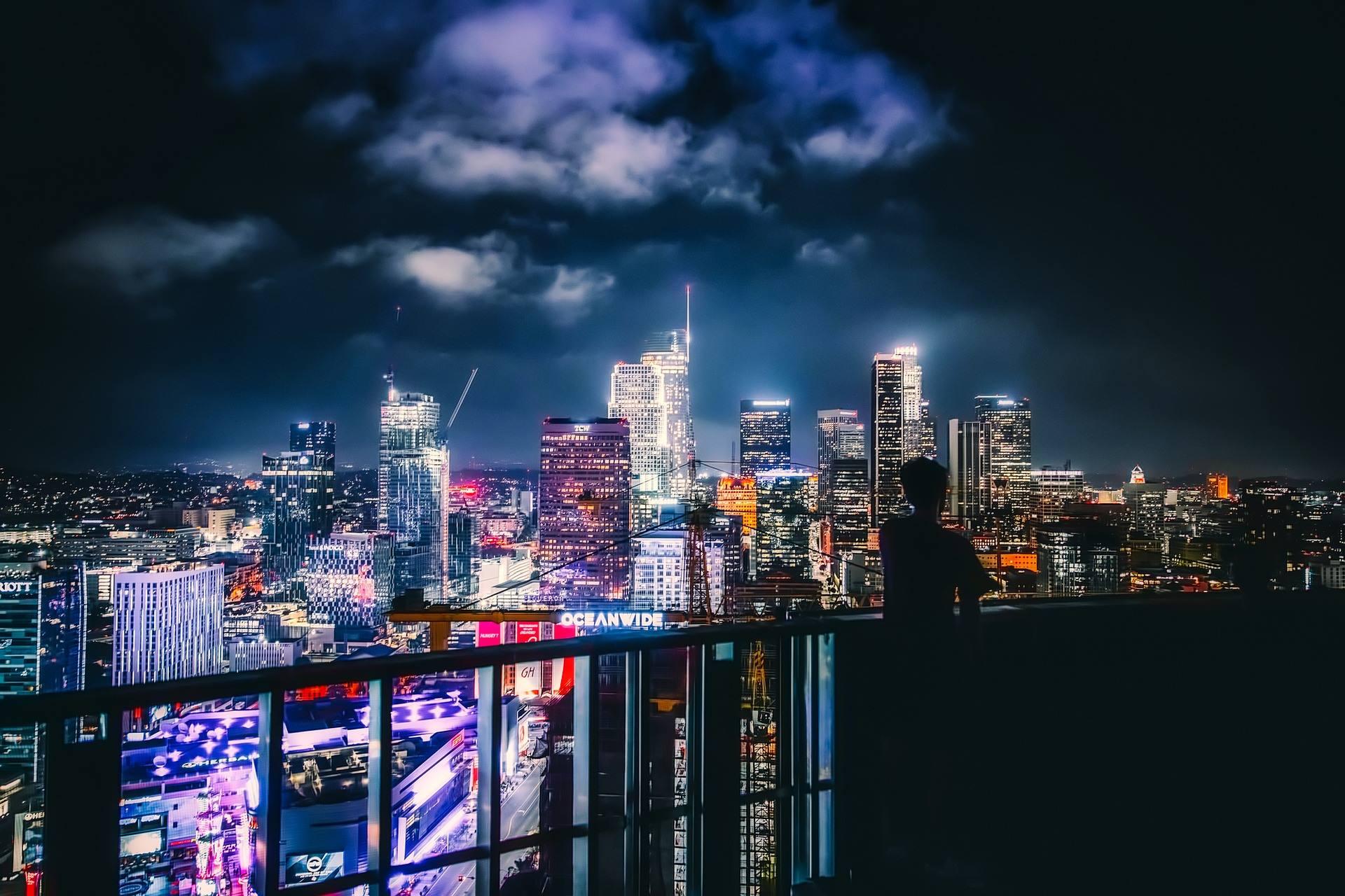 los angeles california cityscape night skyscrapers