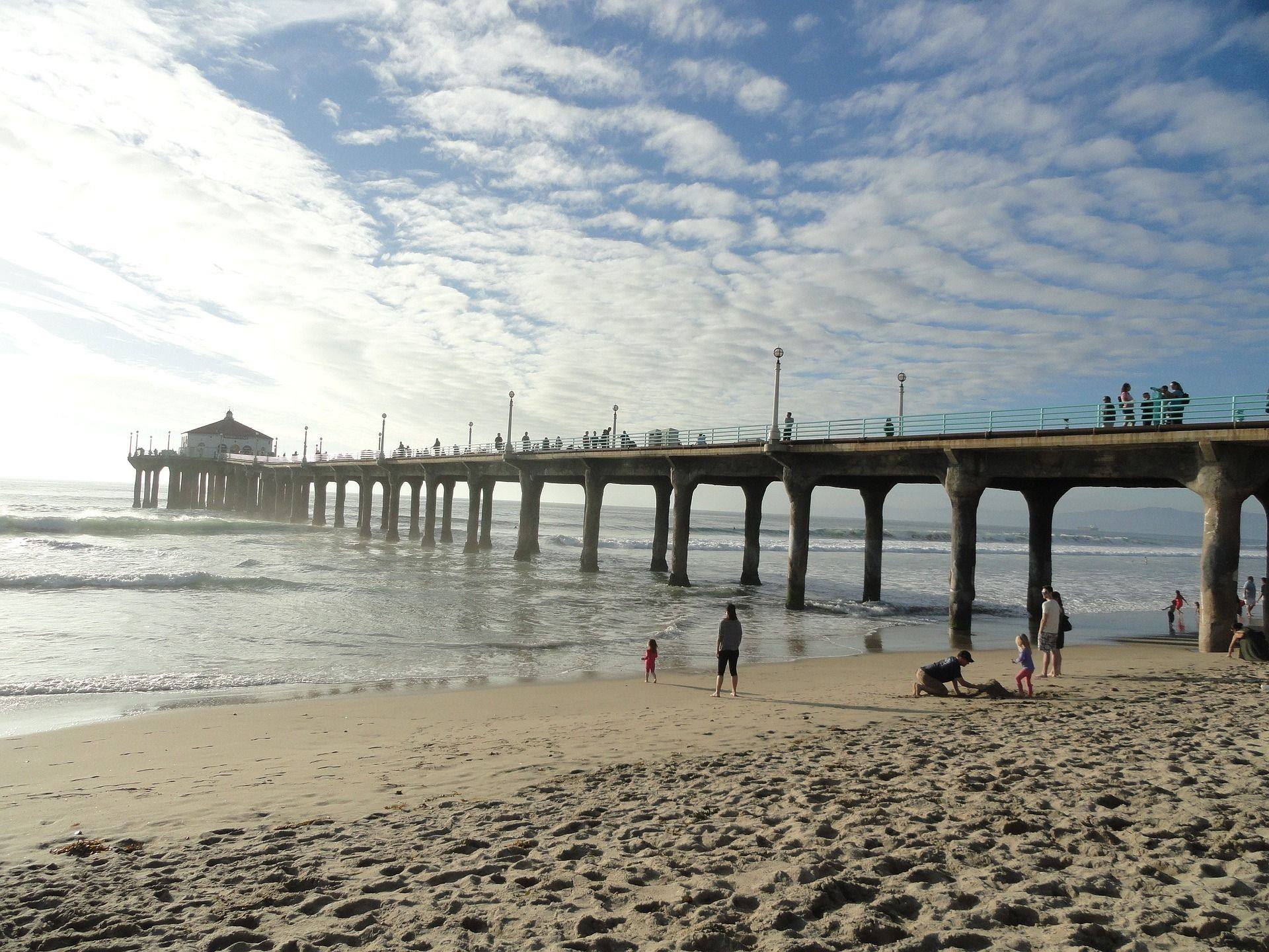 los angeles california santa monica pier beach