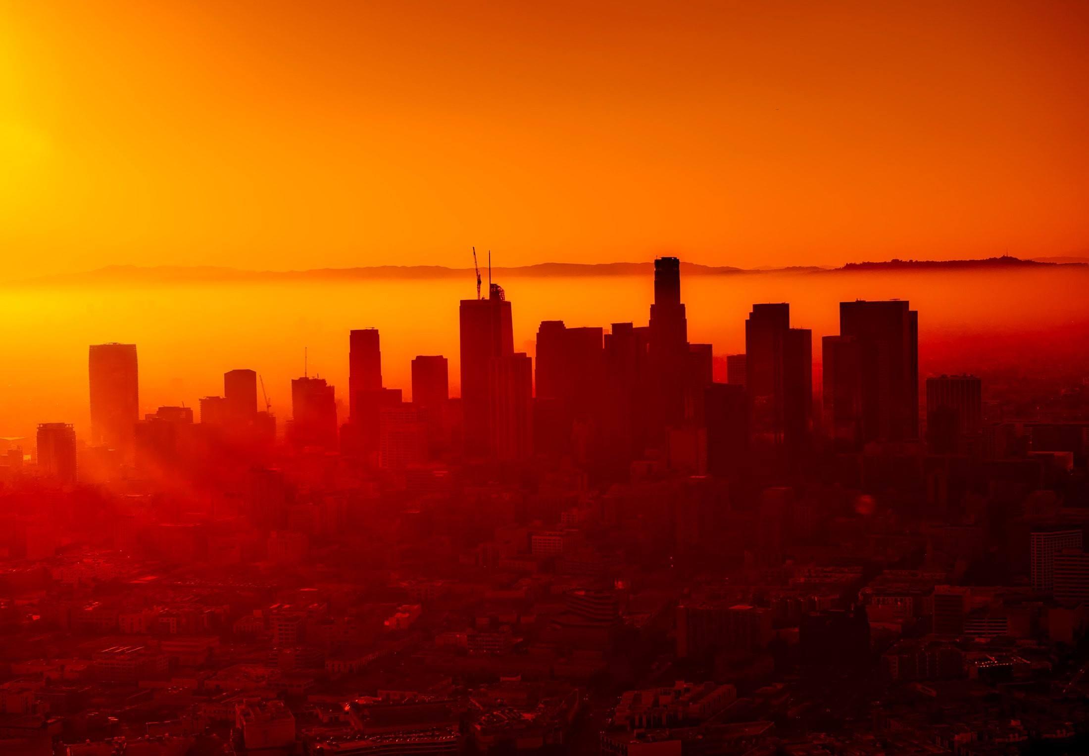 los angeles california sunrise cityscape
