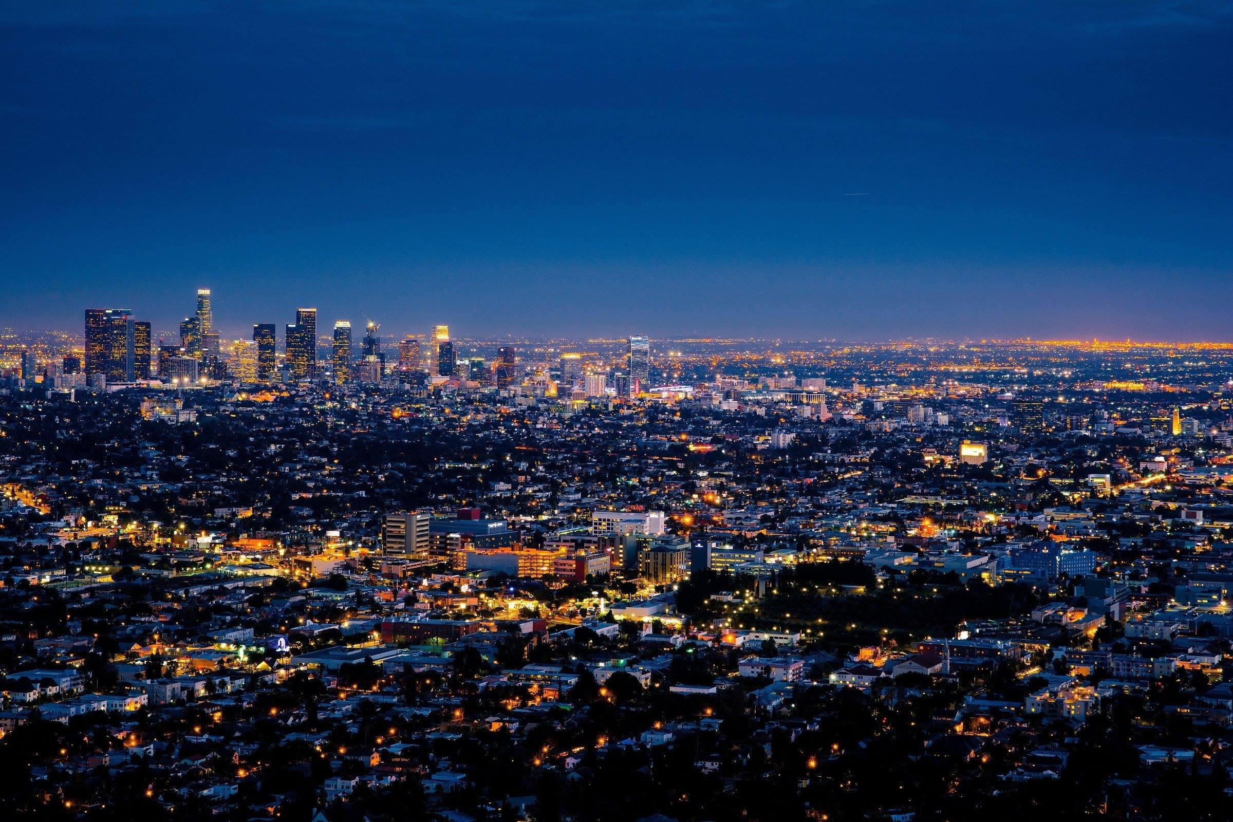 los angeles night cityscape skyline