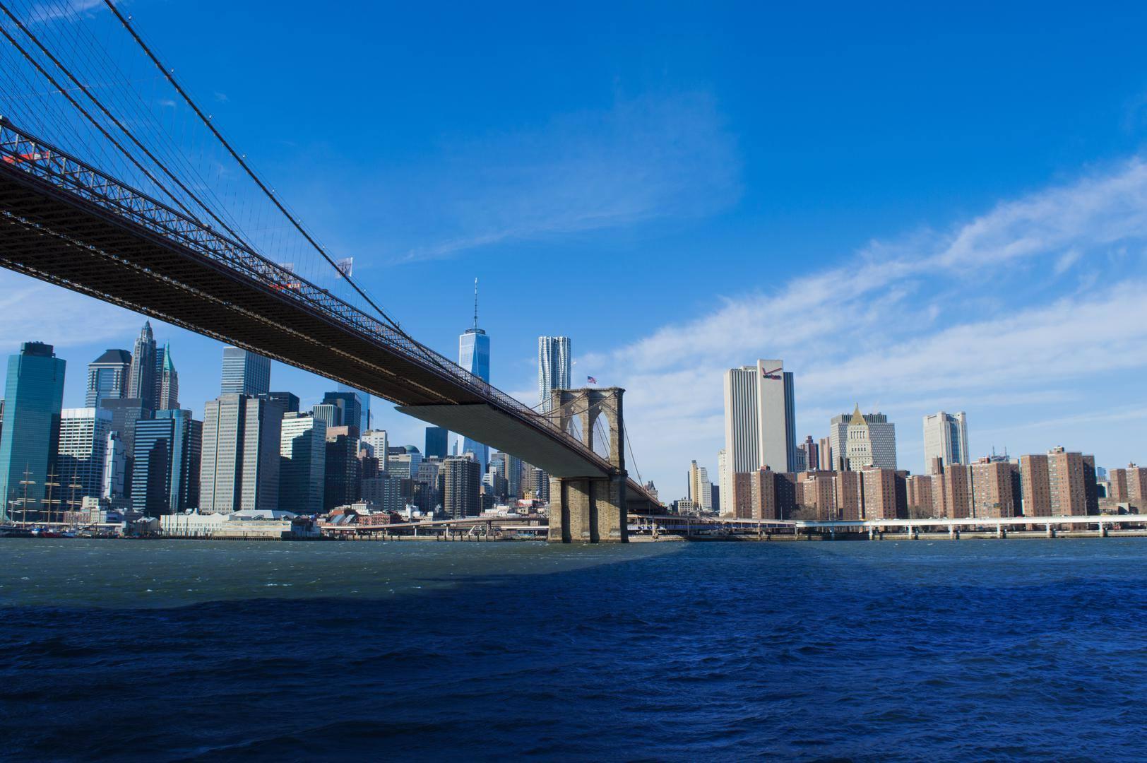 new york brooklyn bridge manhattan skyline river