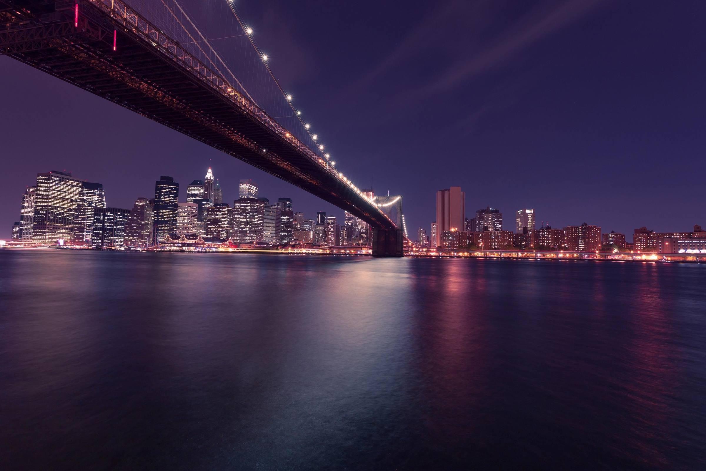 new york brooklyn bridge night cityscape skyline