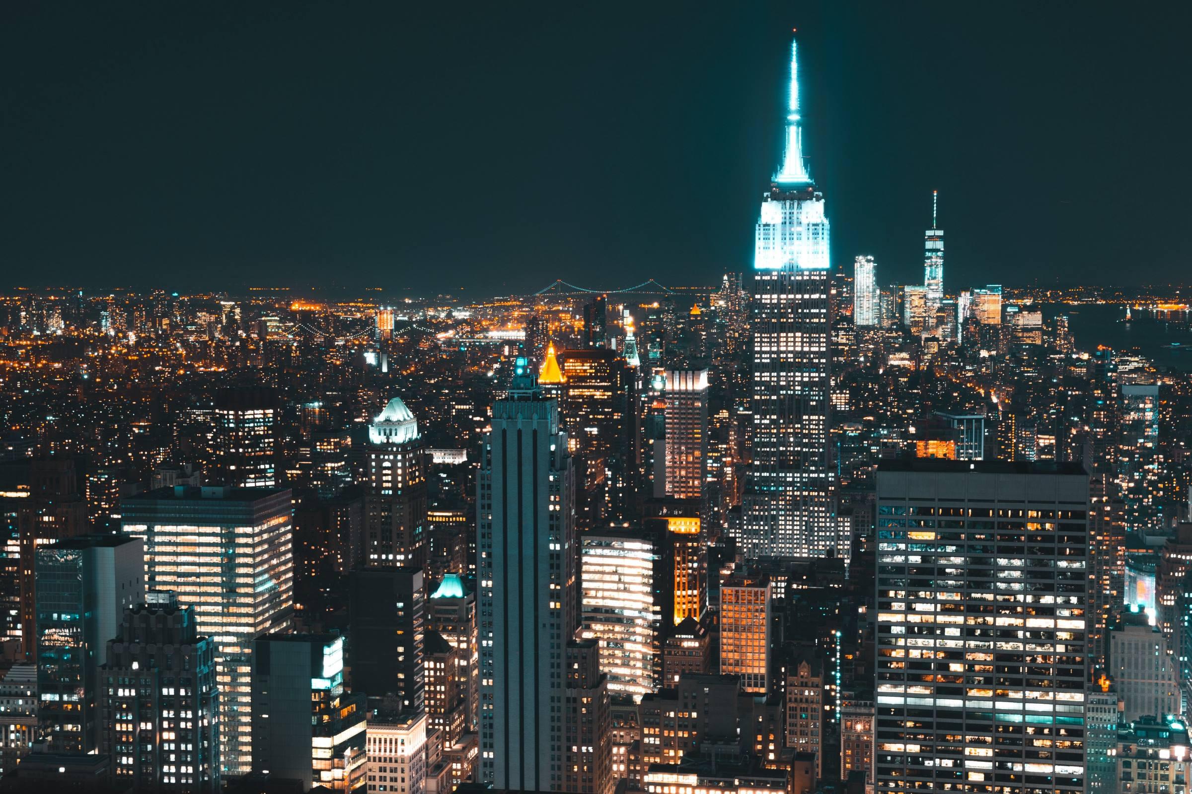 new york city night lights cityscape