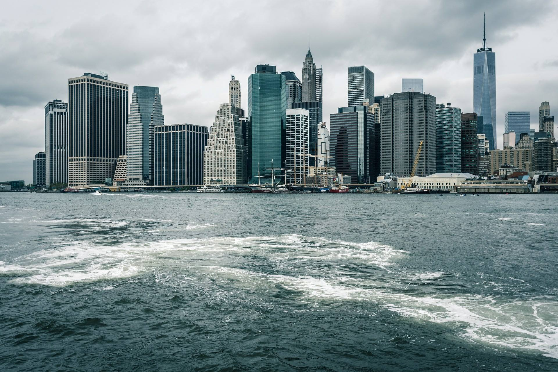 new york city skyline river cityscape