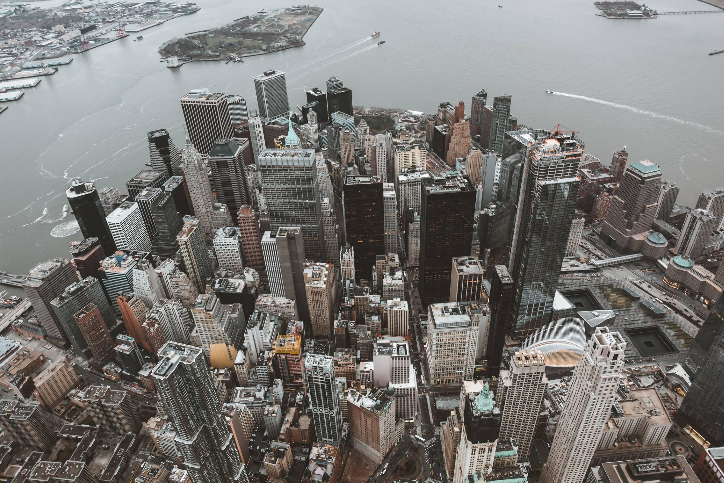 new york city skyscrapers cityscape aerial