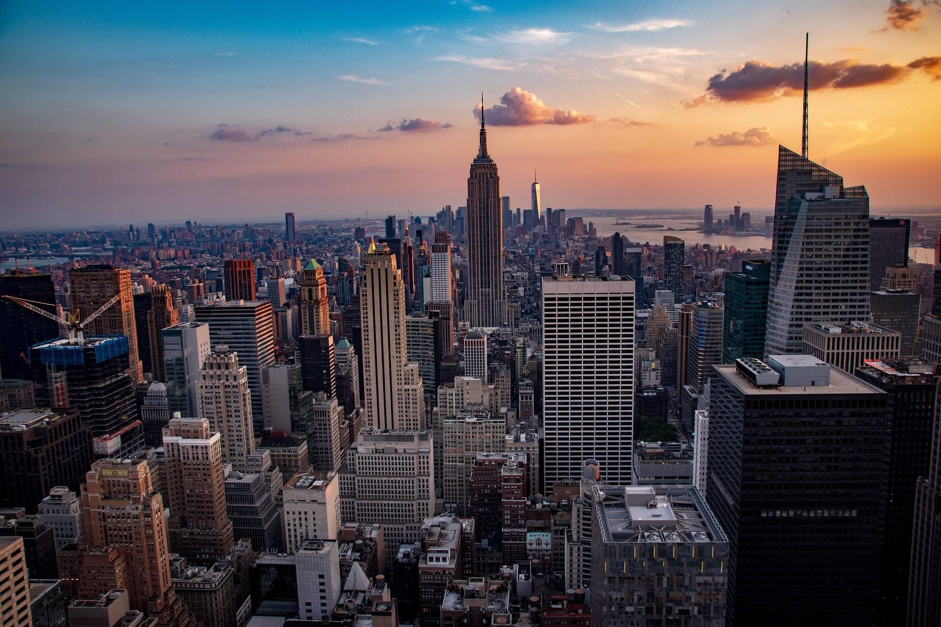 new york city sunset skyline cityscape