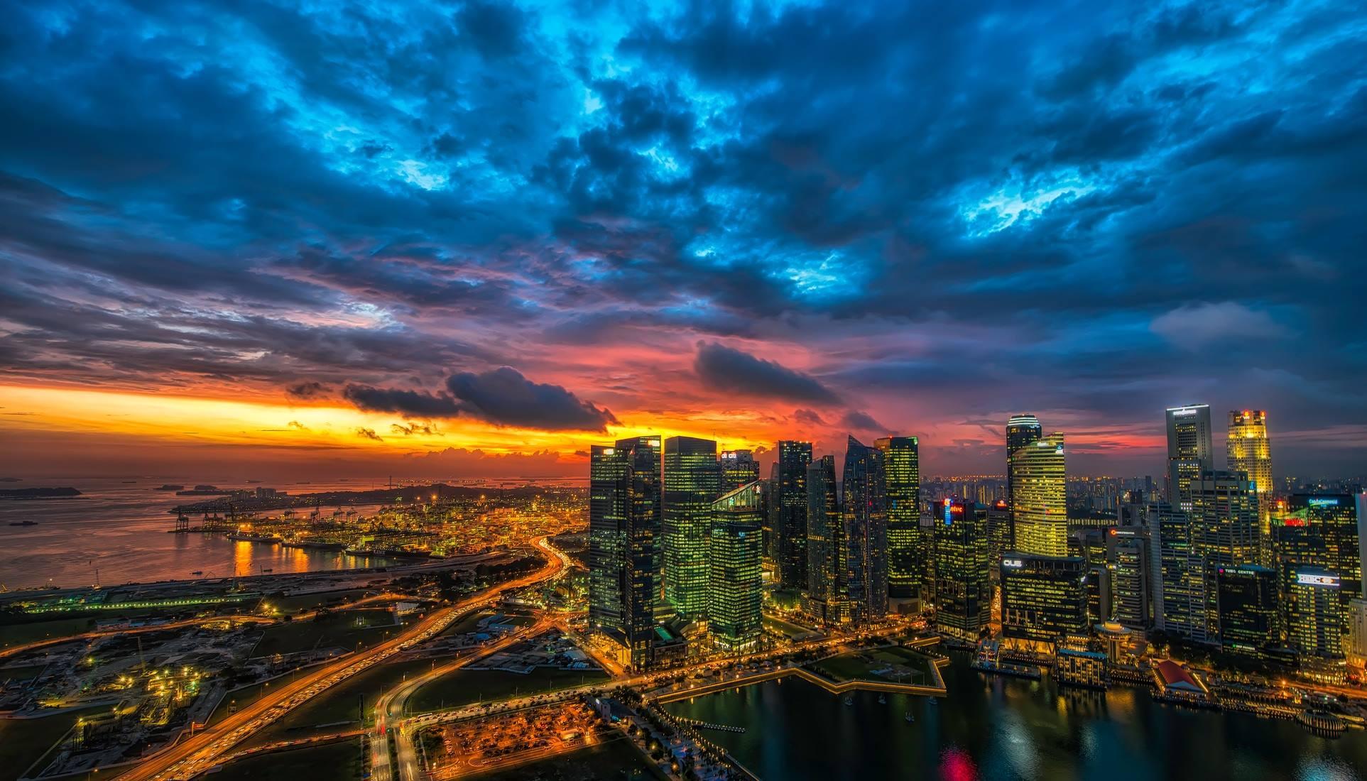 new york cityscape sunset skyline