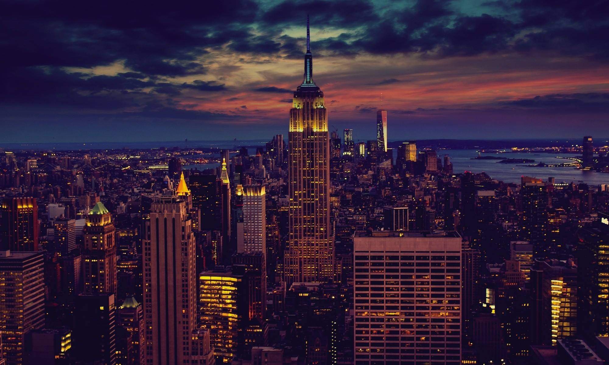 new york empire state building city night lights