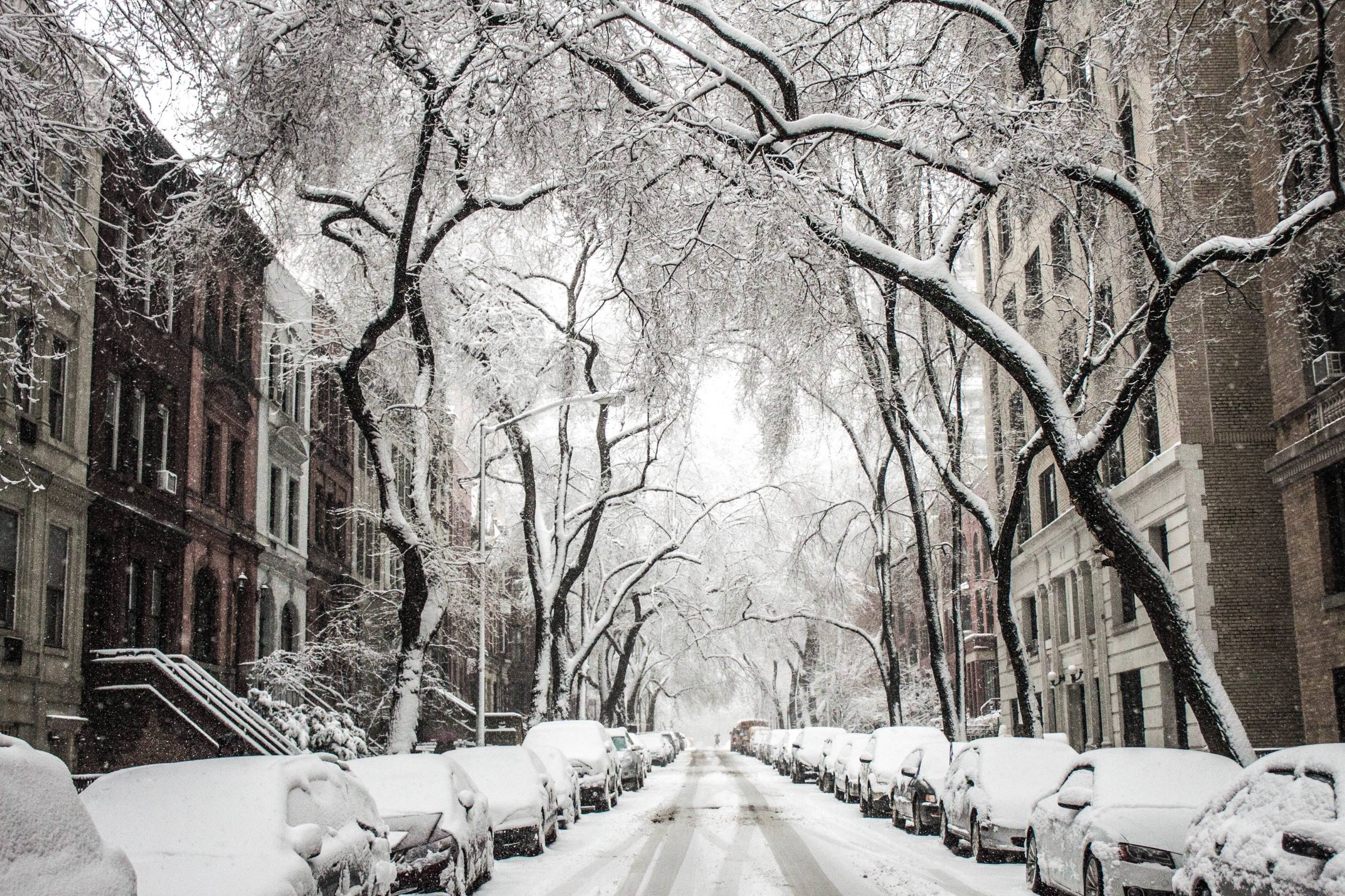new york residential street townhouses snow