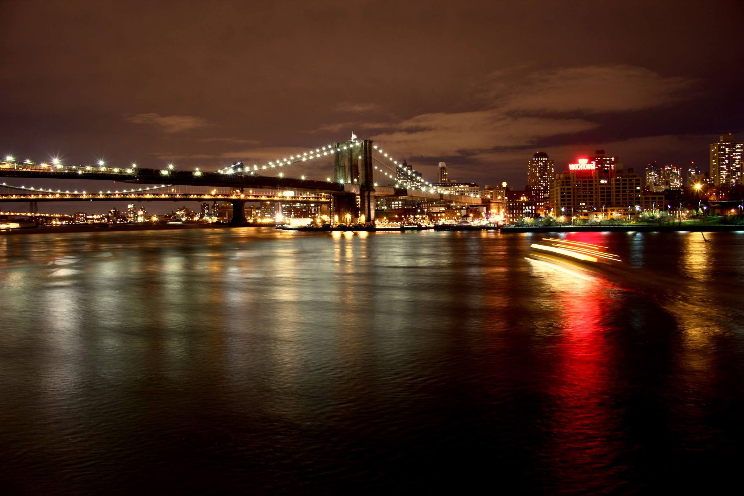 new york river night lights bridge
