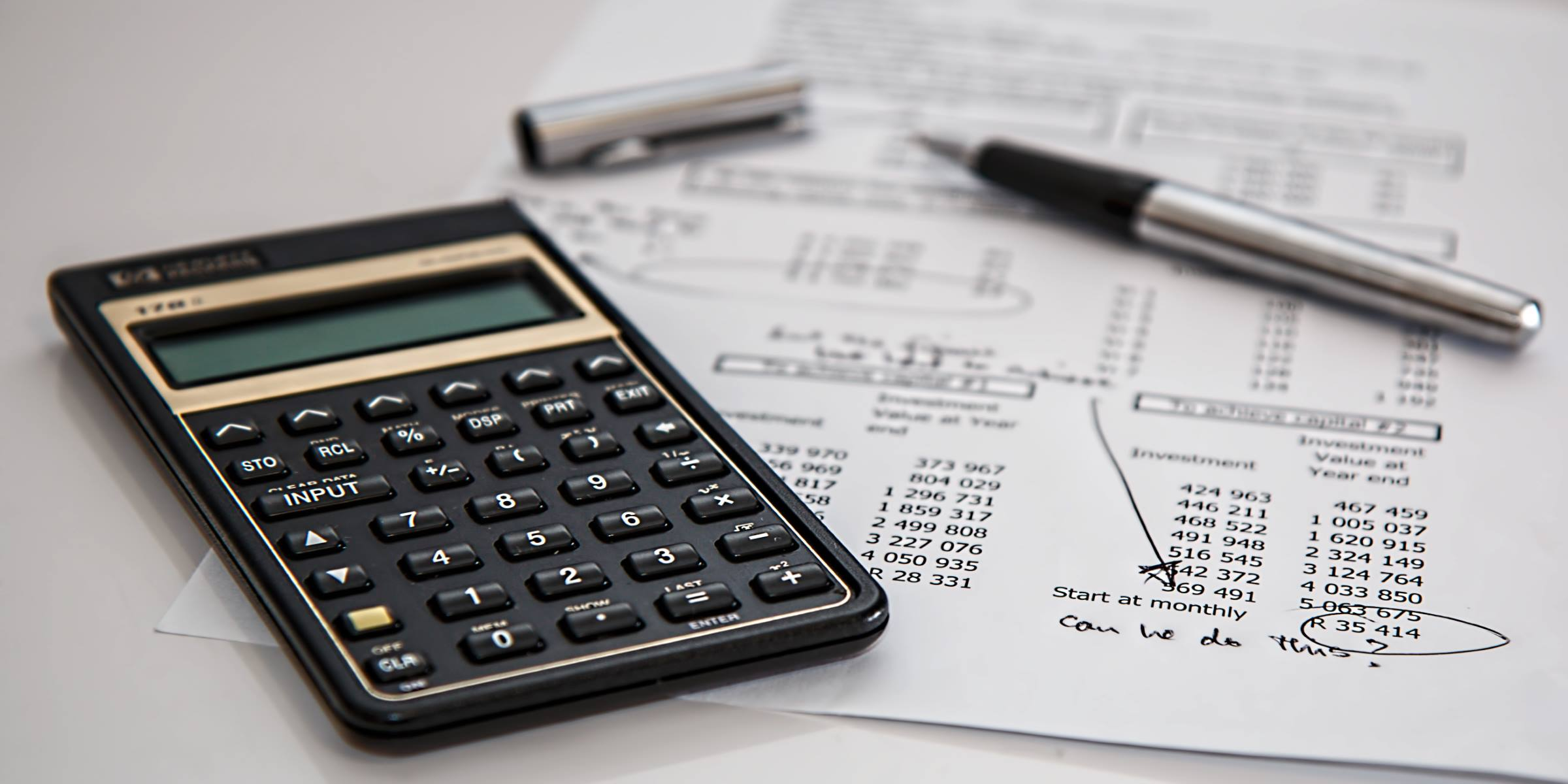 office calculator figures pen