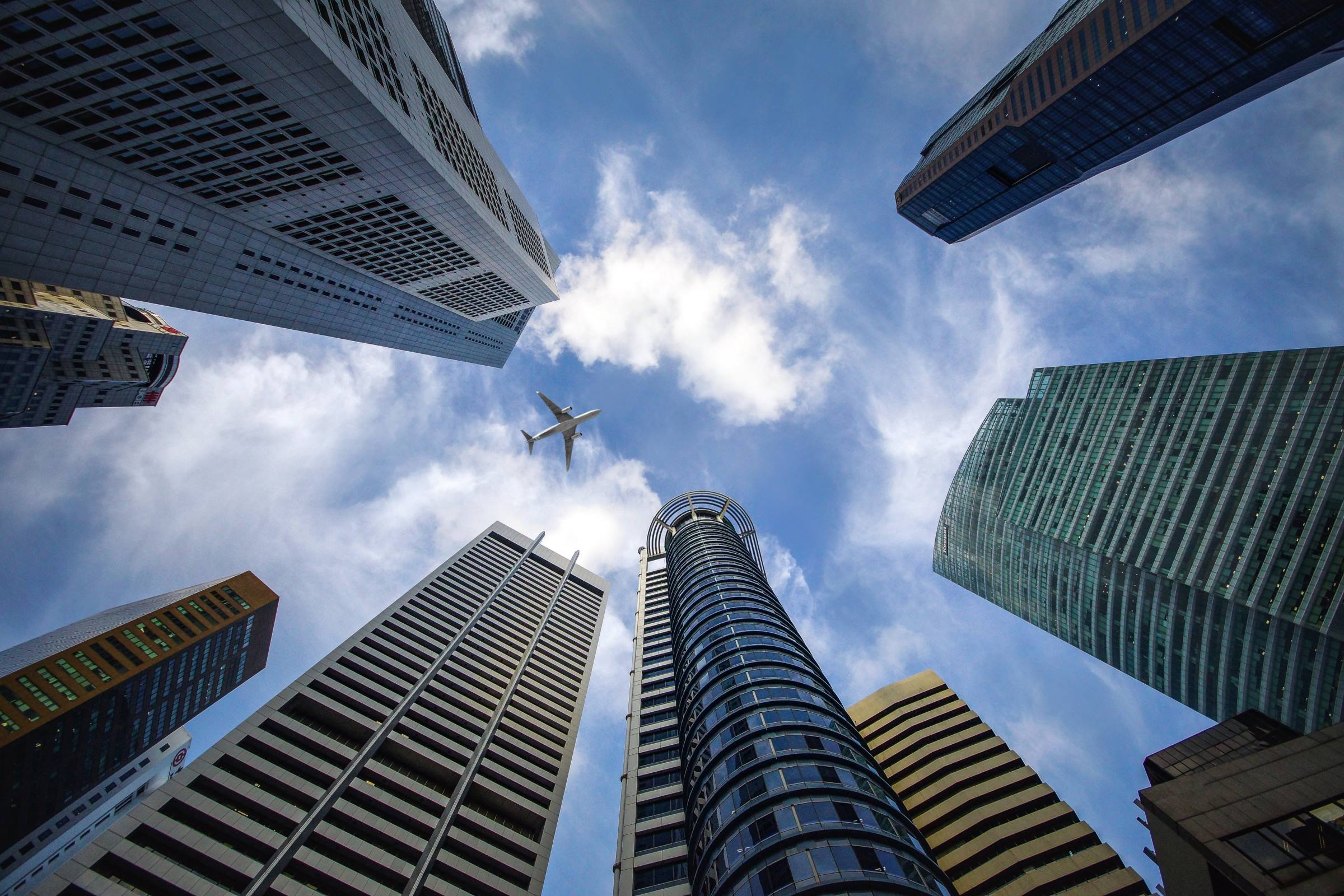 office skyscrapers plane