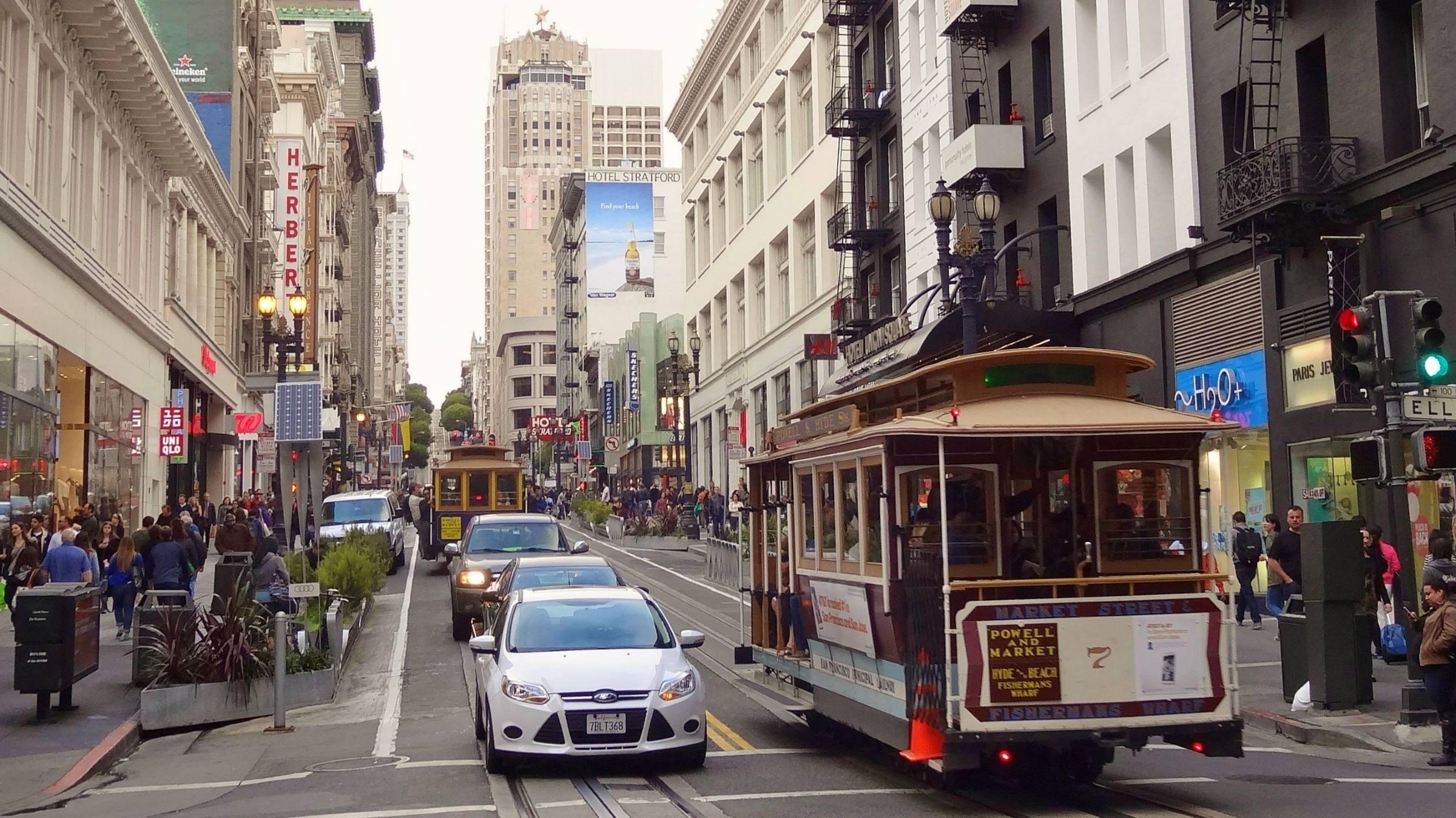 san francisco califonia street tram shops