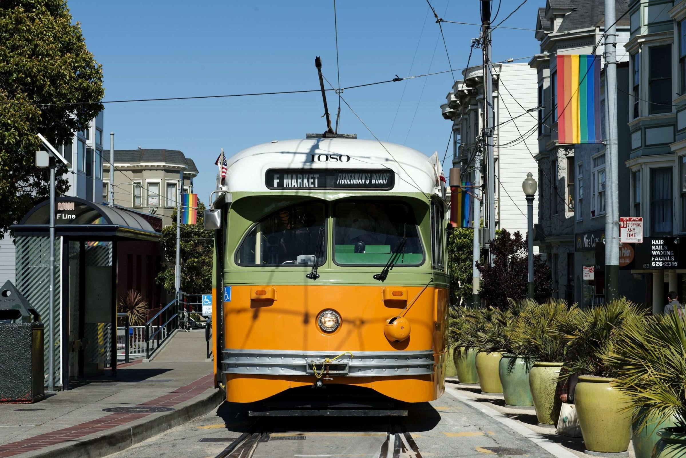 san francisco california cable car street houses
