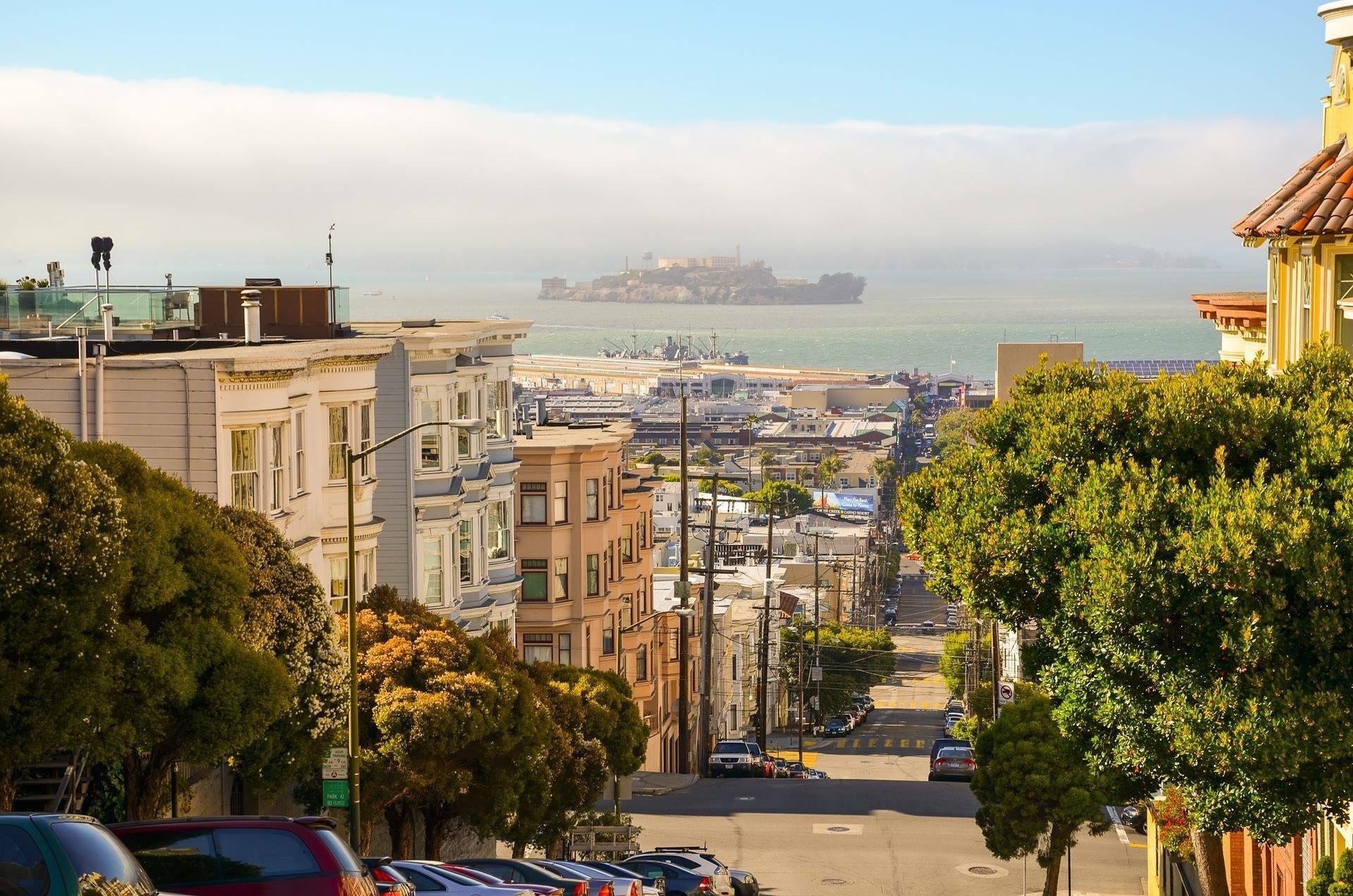 san francisco california city street houses alcatraz