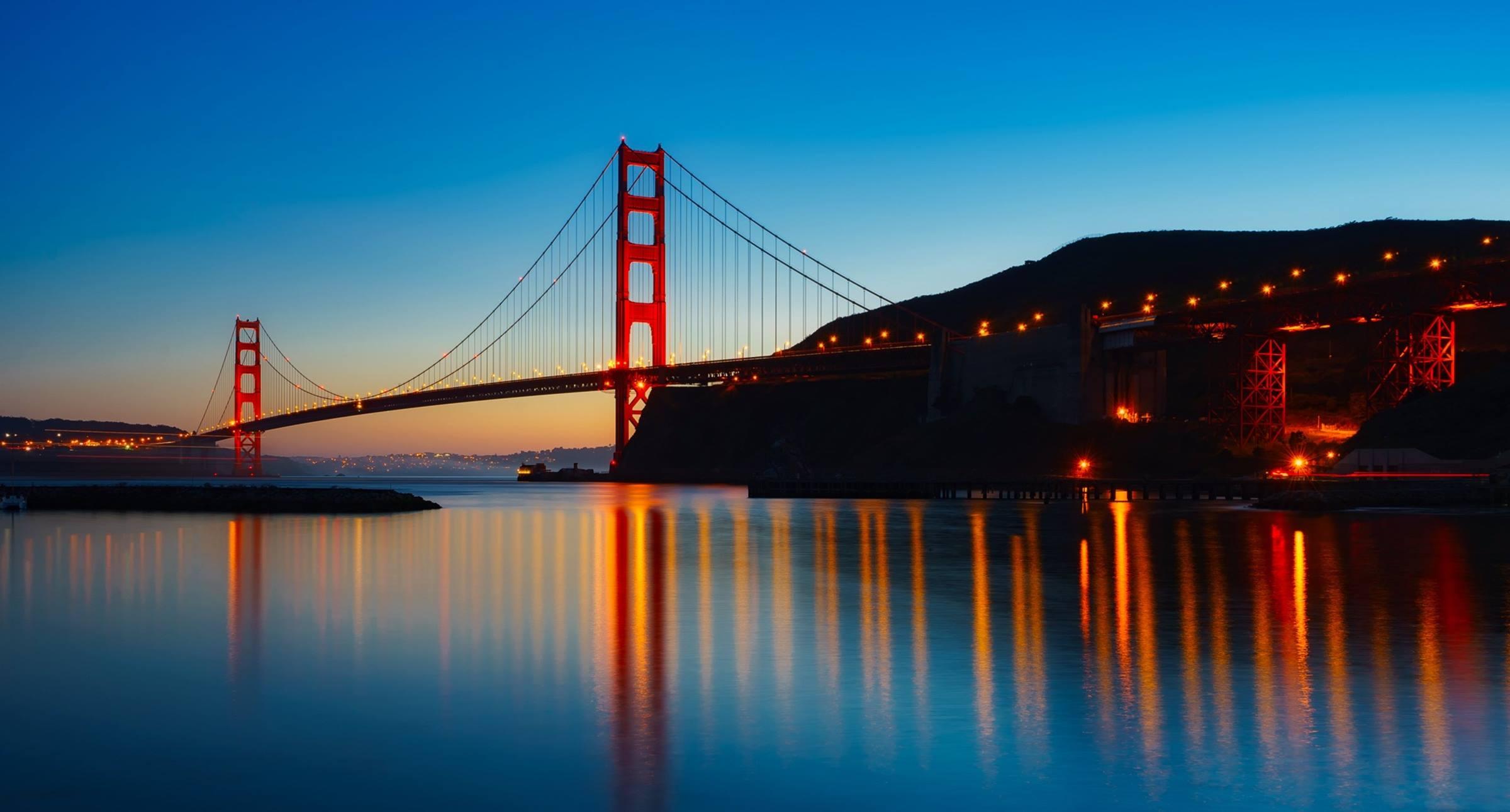 san francisco california golden gate bridge night relection