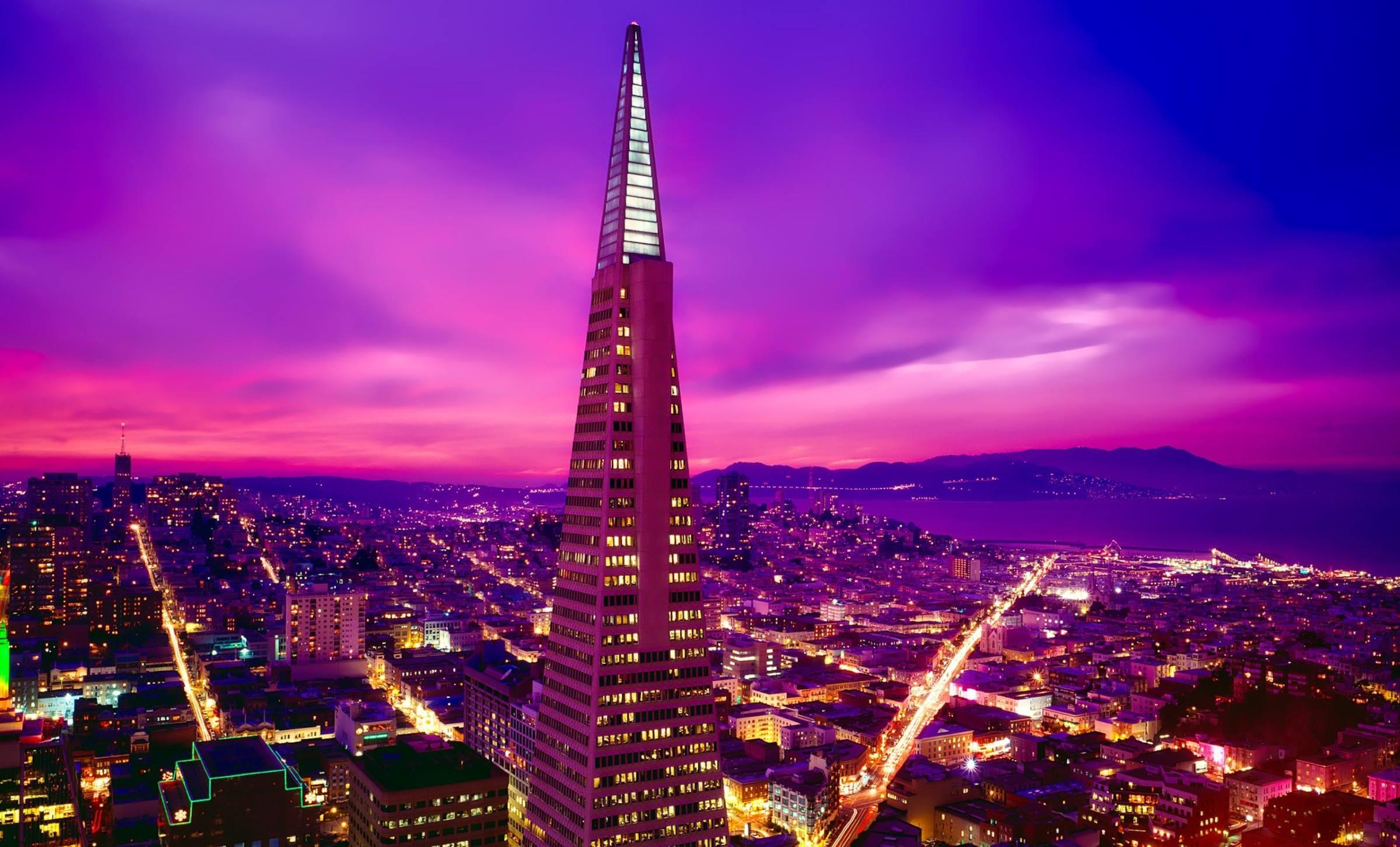 san francisco california night transamerica pyramid