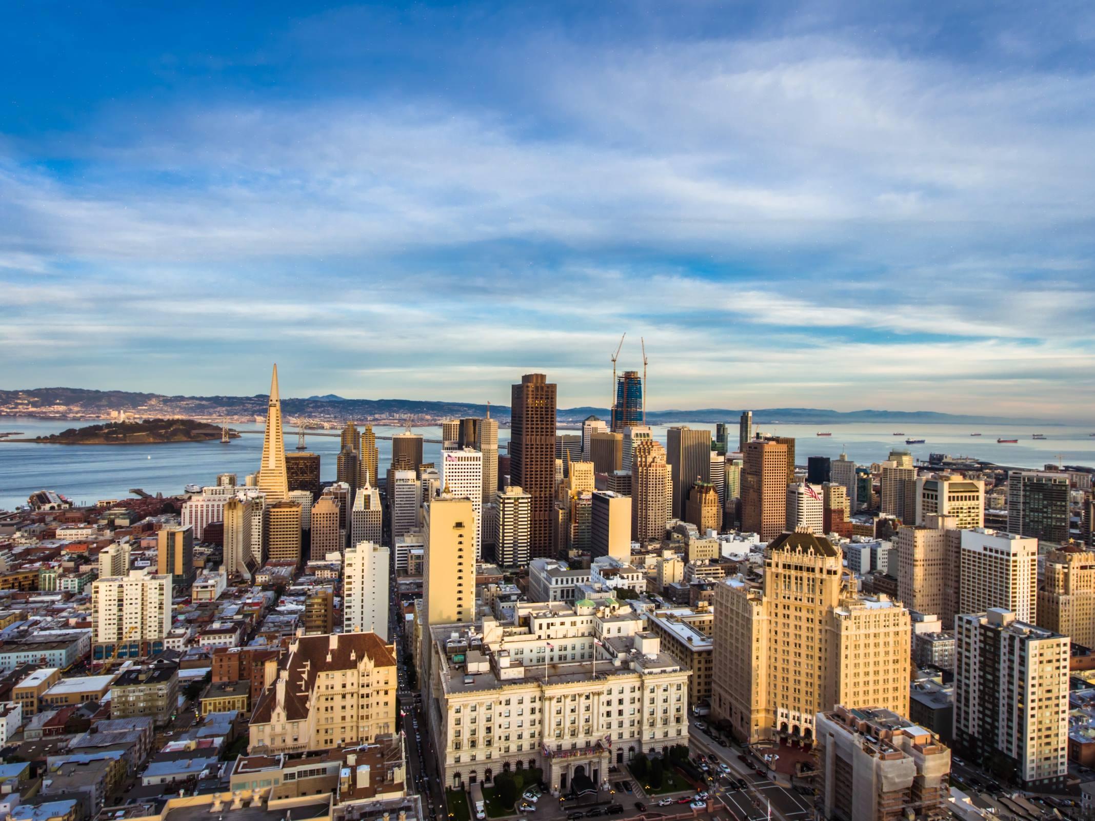 san francisco california skyline water alcatraz