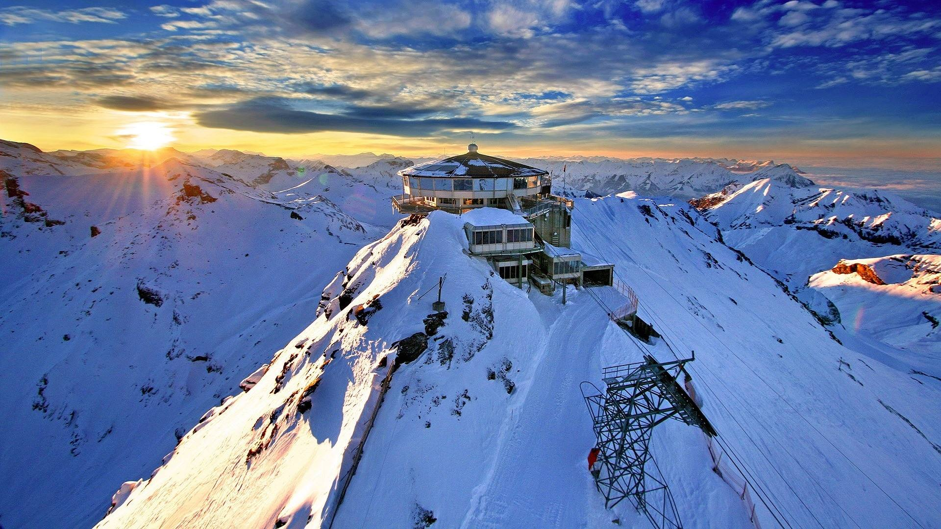 winter alps mountain station cable car
