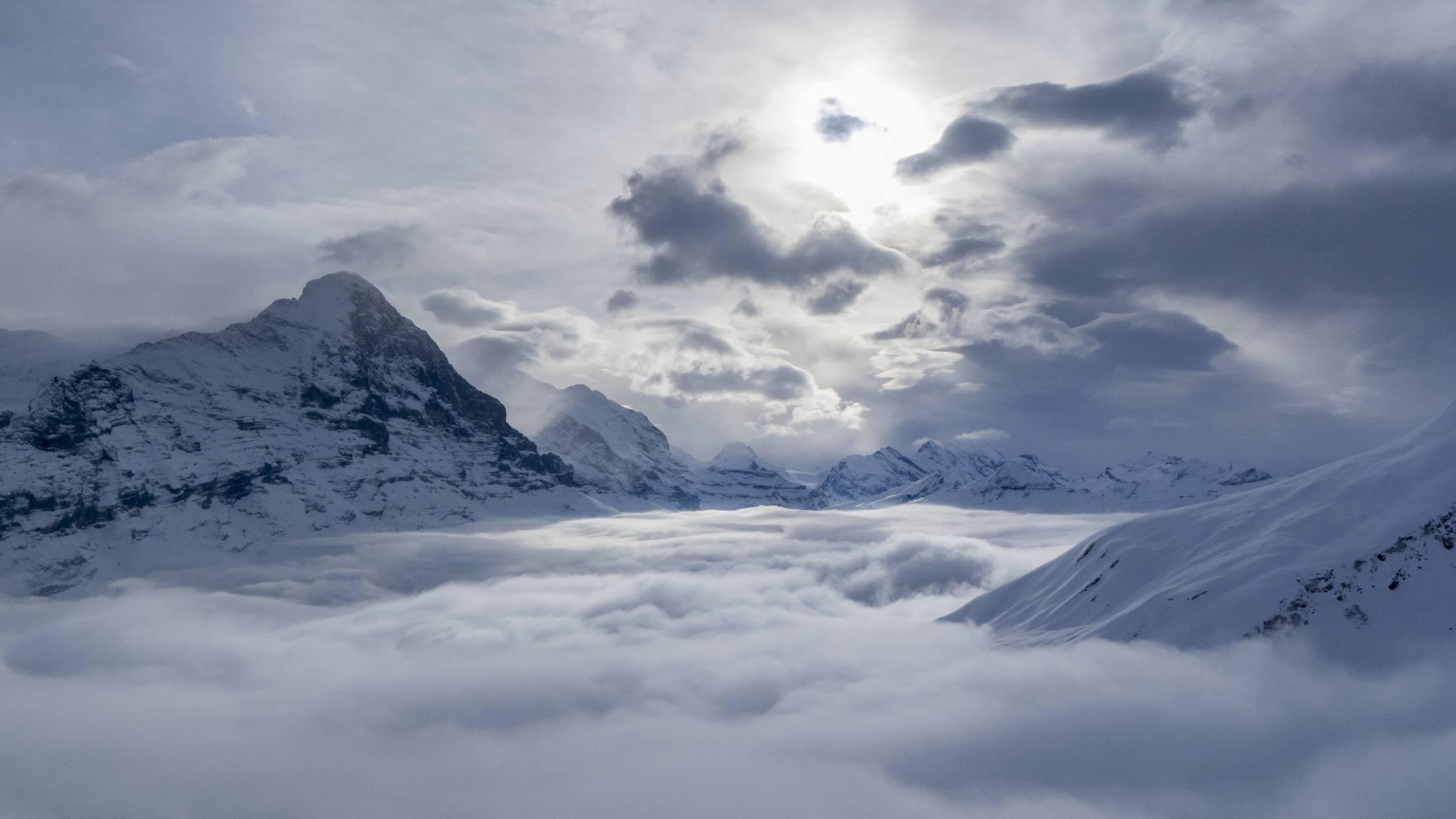 winter alps mountains landscape clouds