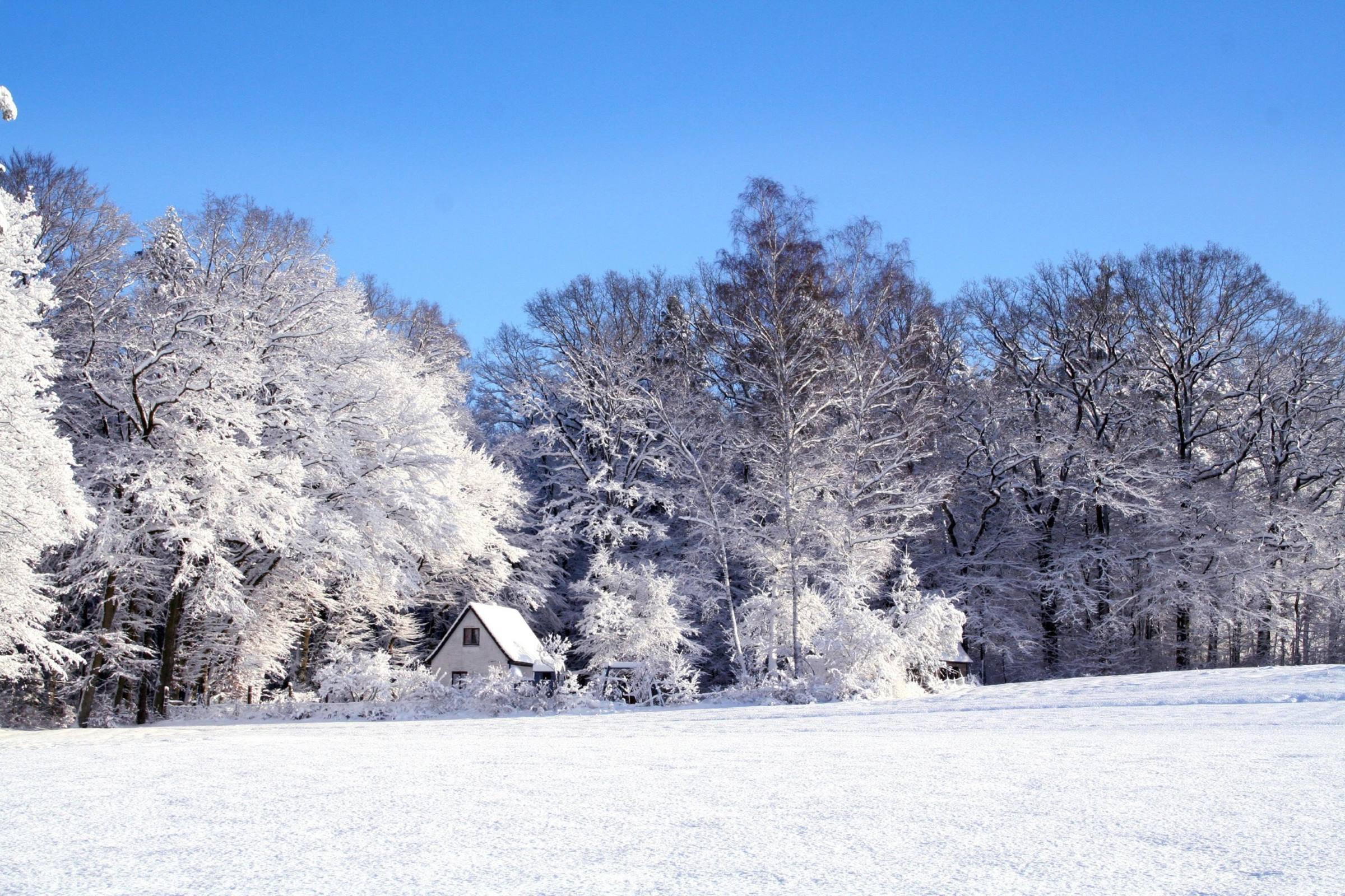 winter house snow trees ice blue sky