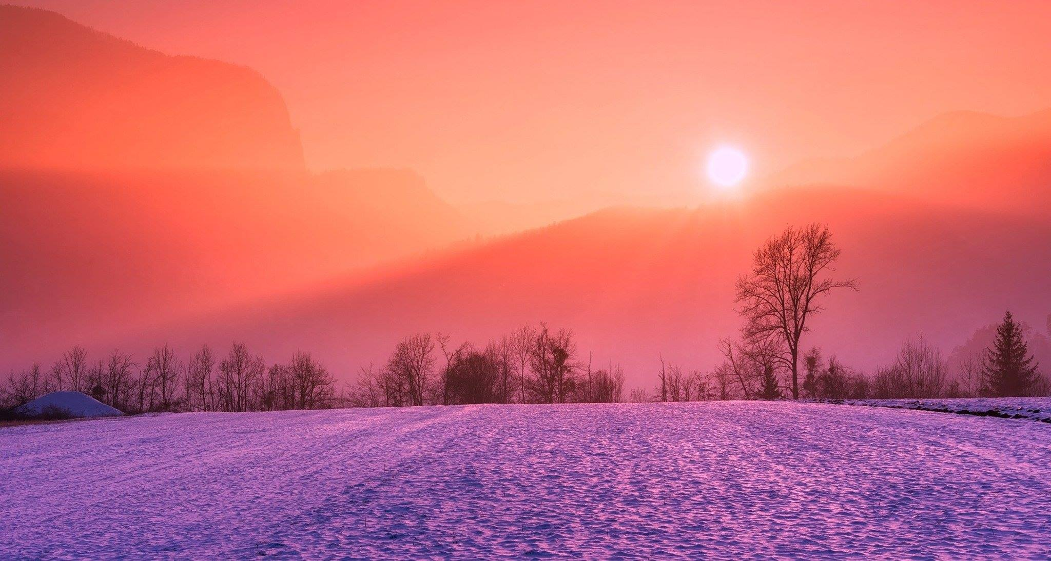 winter landscape sunrise sunset snow