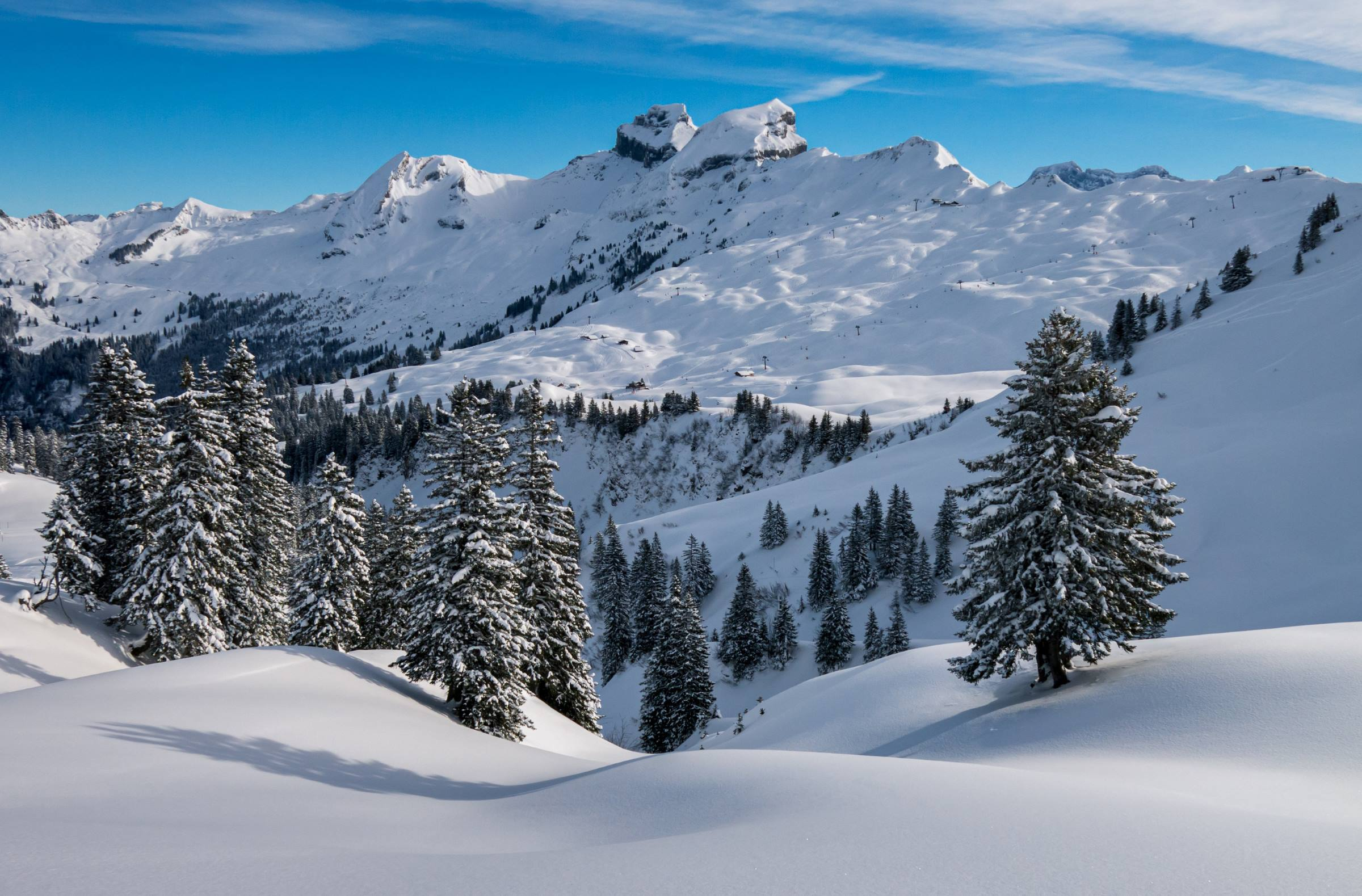 winter landscape trees mountain blue sky