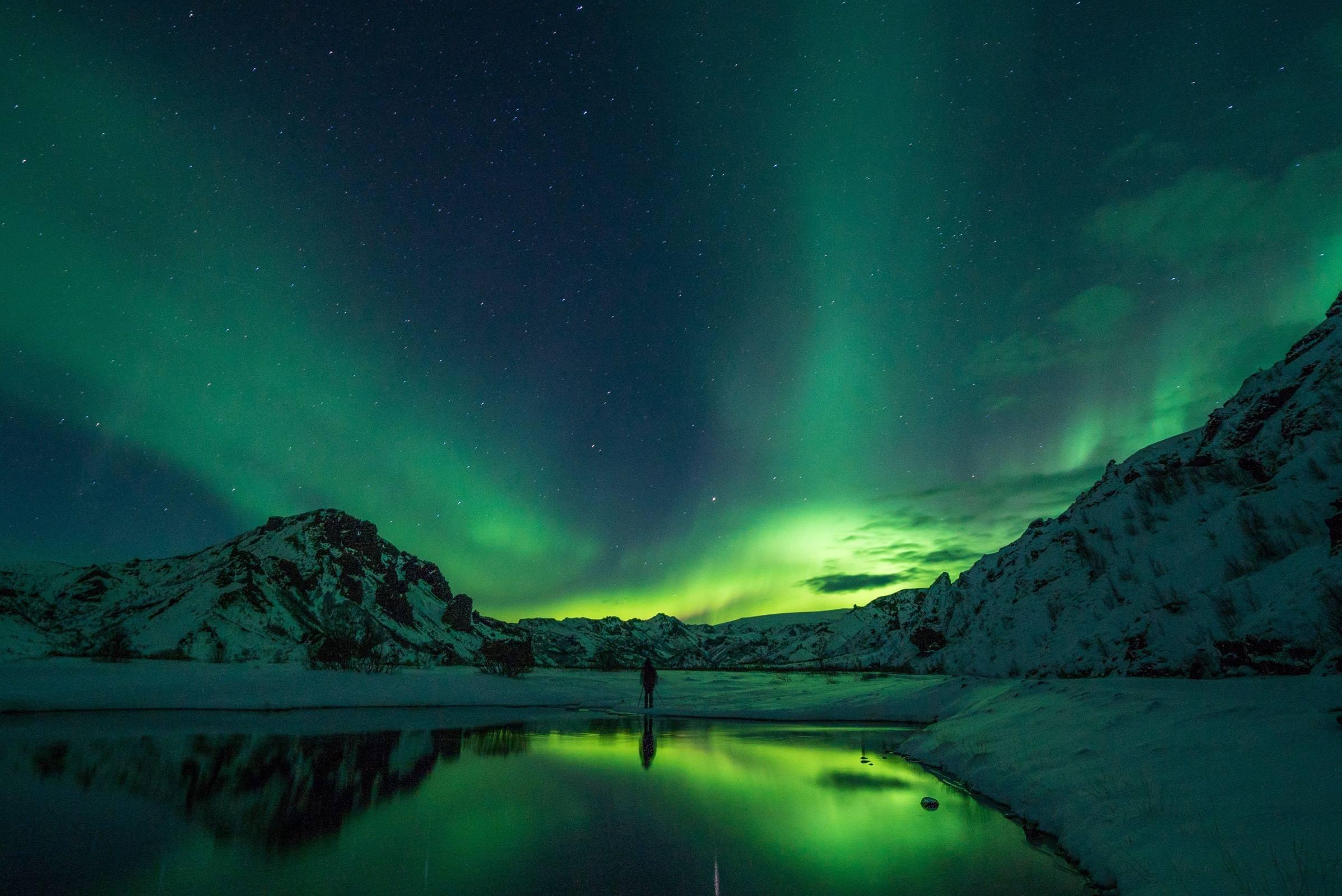 winter northern lights snow lake