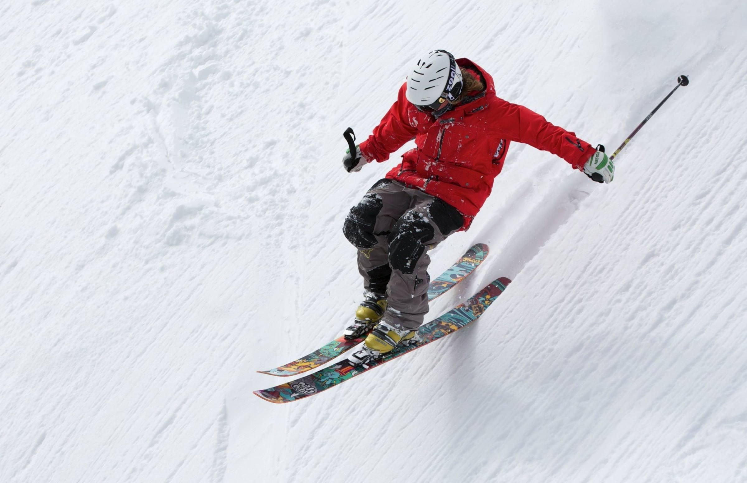 winter skier skiing downhill ski slope