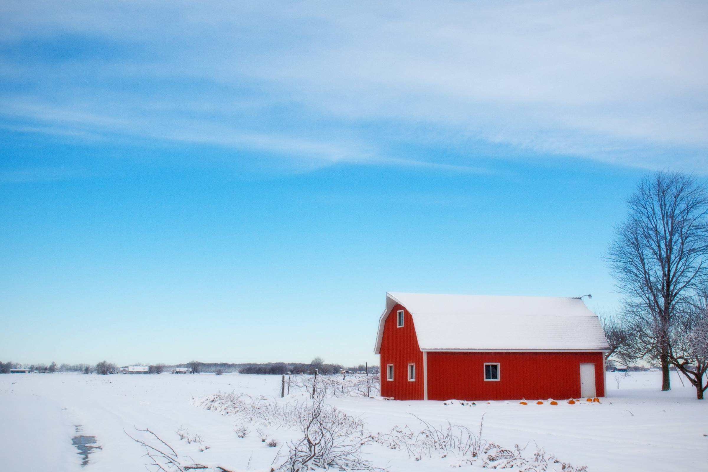winter snow barn landscape fields trees