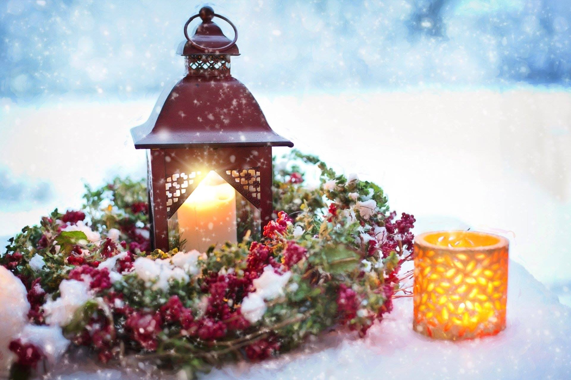 winter snow christmas decoration candles