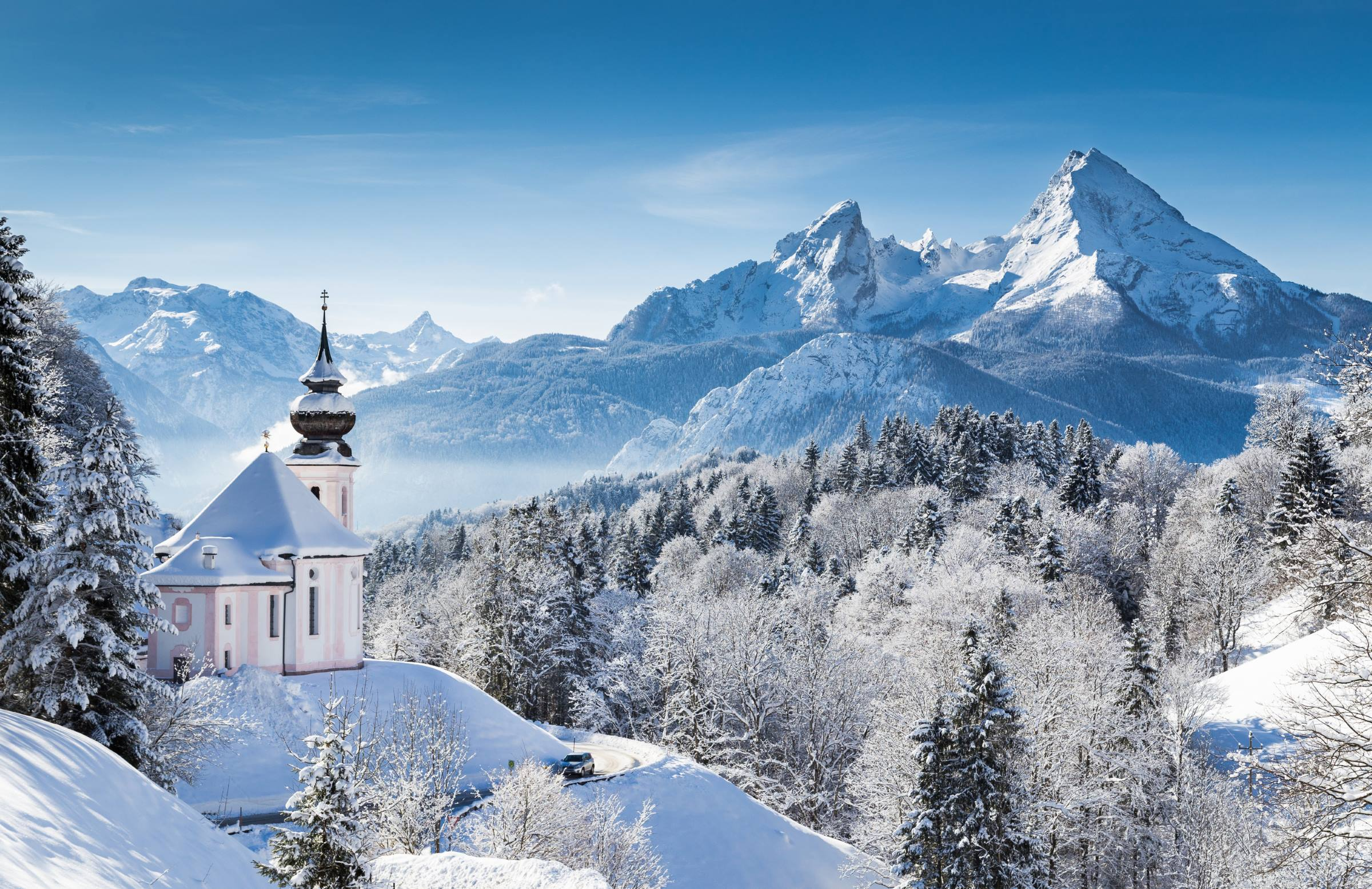 winter snow landscape church mountains trees