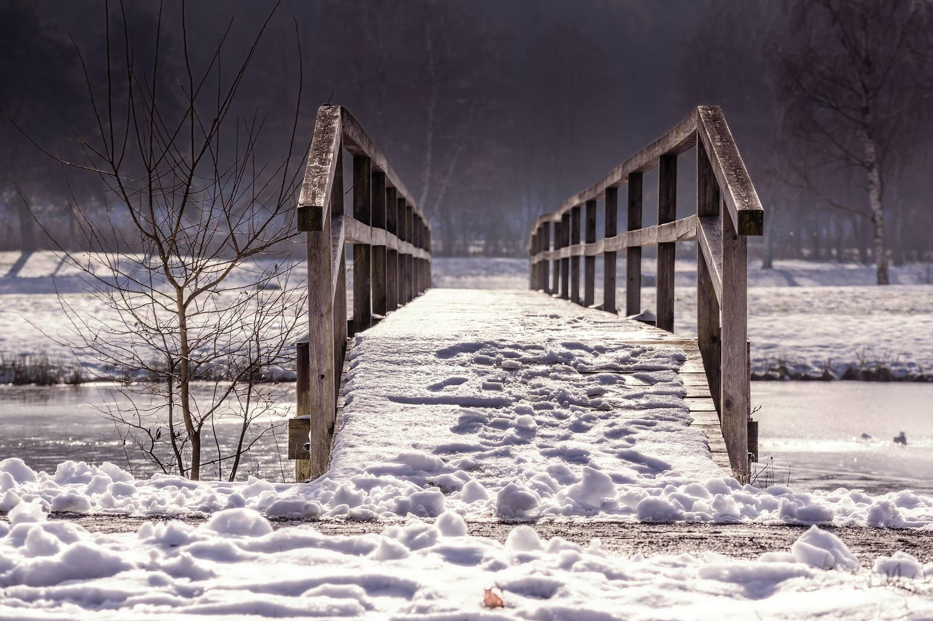 winter snow river bridge ice