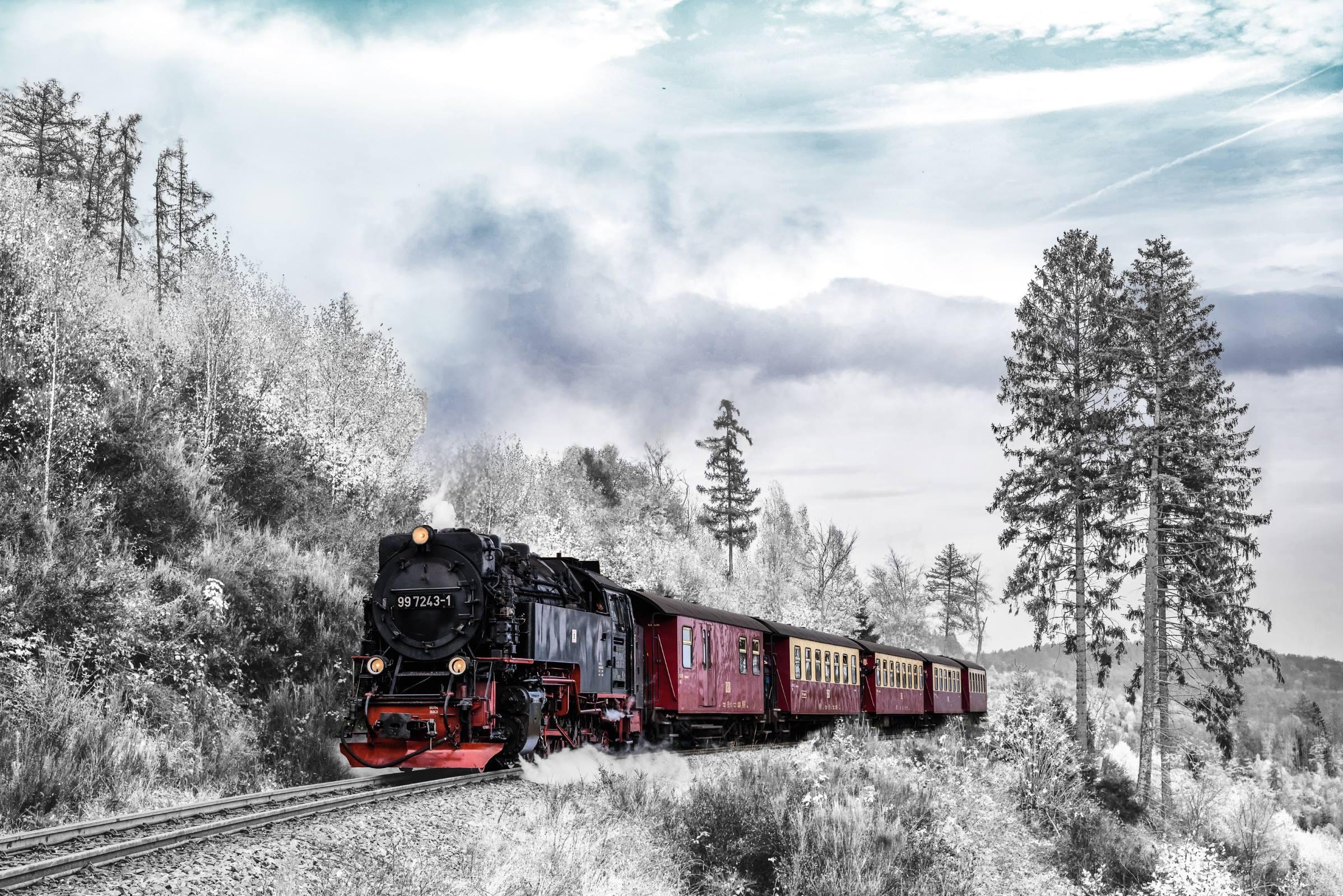 winter steam train snow trees